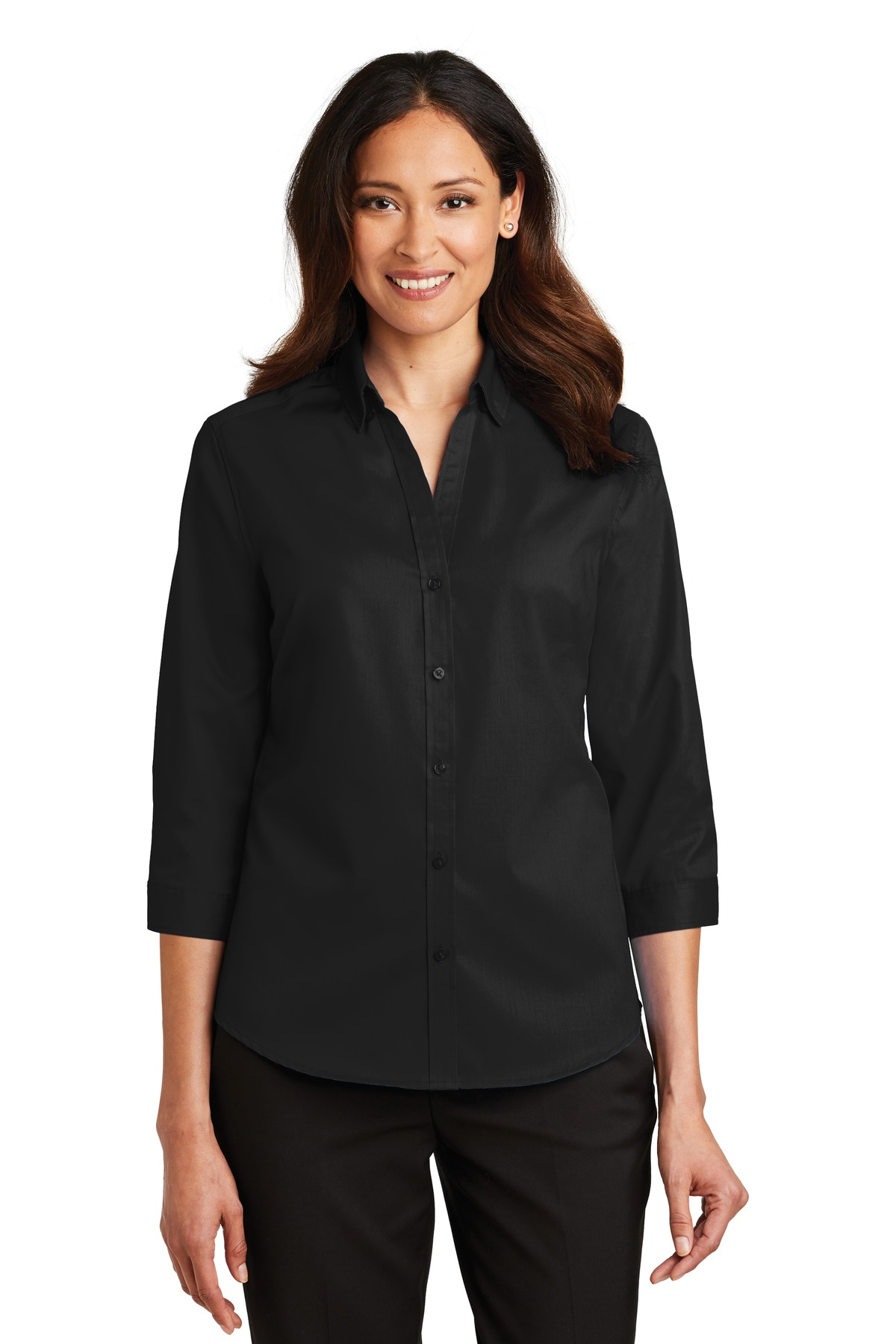 Port Authority ®  Ladies 3/4-Sleeve SuperPro ™  Twill Shirt. L665 - Black