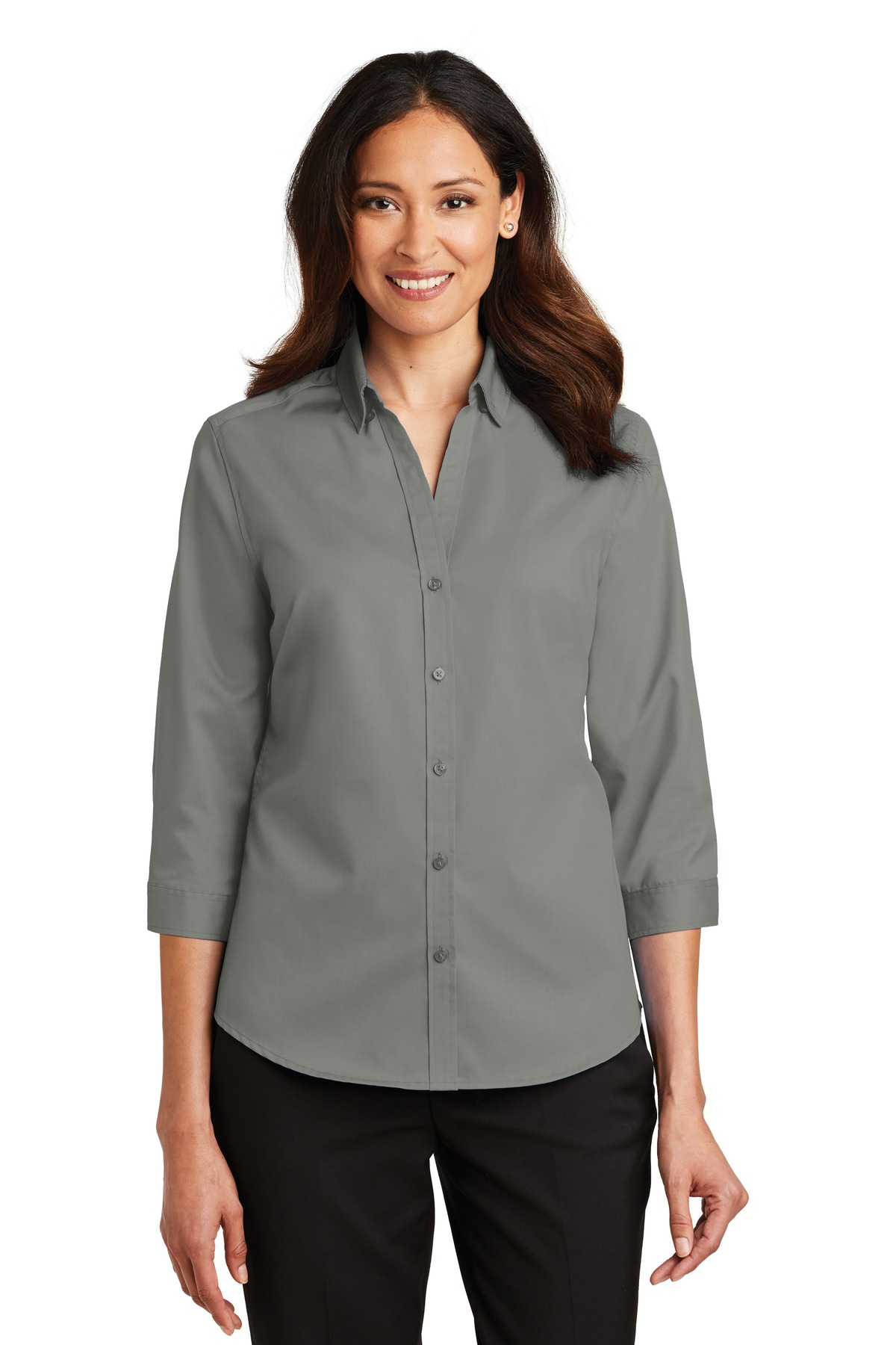 Port Authority ®  Ladies 3/4-Sleeve SuperPro ™  Twill Shirt. L665 - Monument Grey