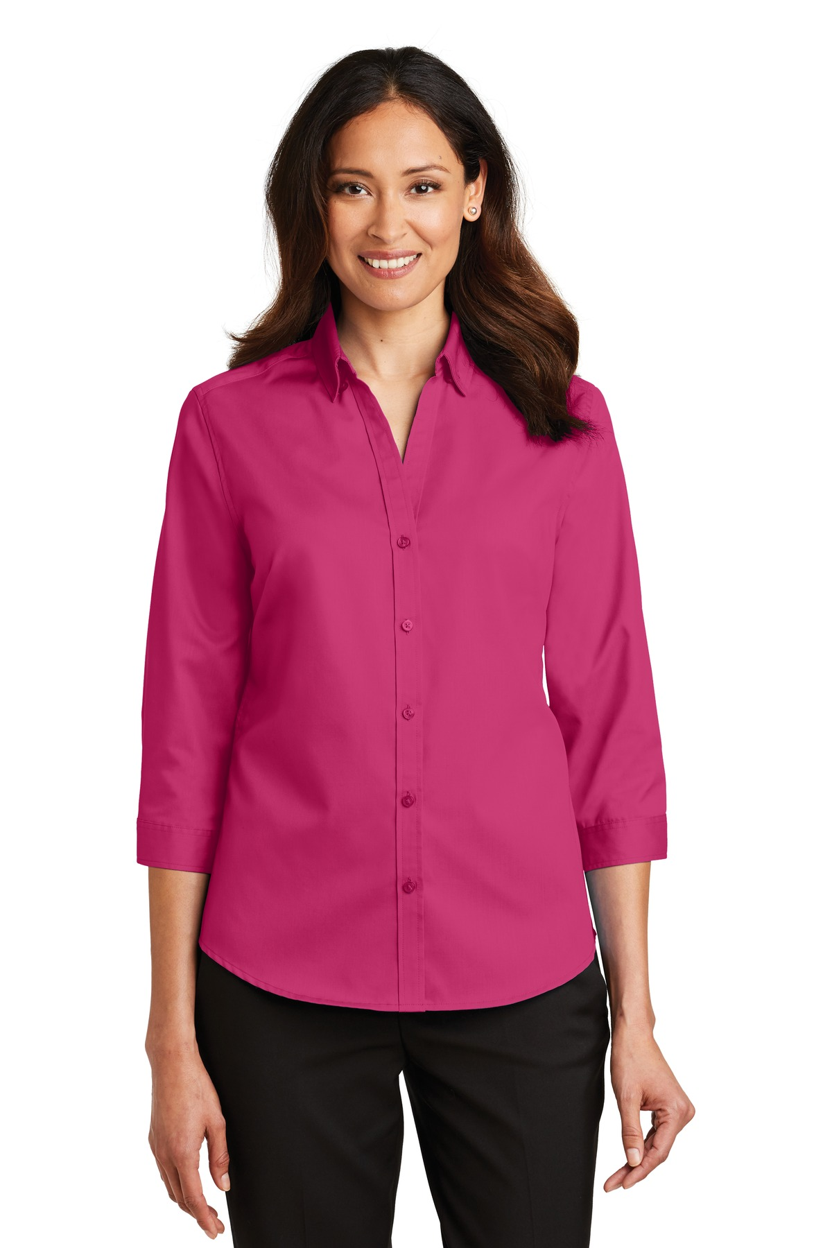 Port Authority ®  Ladies 3/4-Sleeve SuperPro ™  Twill Shirt. L665 - Pink Azalea