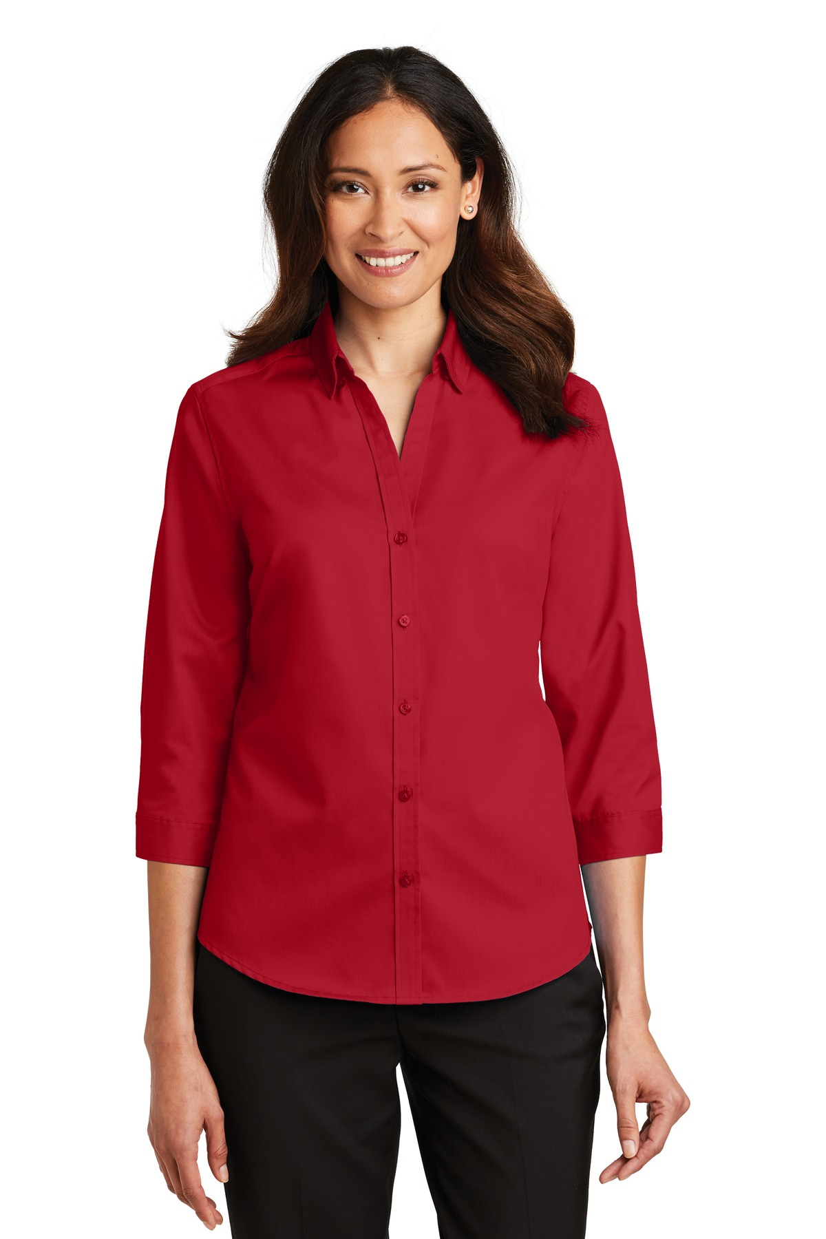 Port Authority ®  Ladies 3/4-Sleeve SuperPro ™  Twill Shirt. L665 - Rich Red
