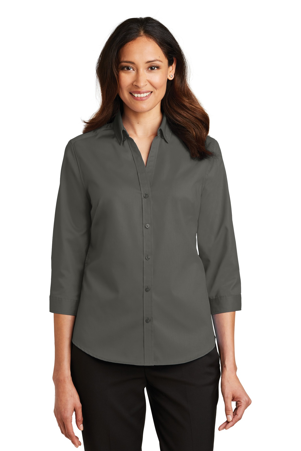 Port Authority ®  Ladies 3/4-Sleeve SuperPro ™  Twill Shirt. L665 - Sterling Grey
