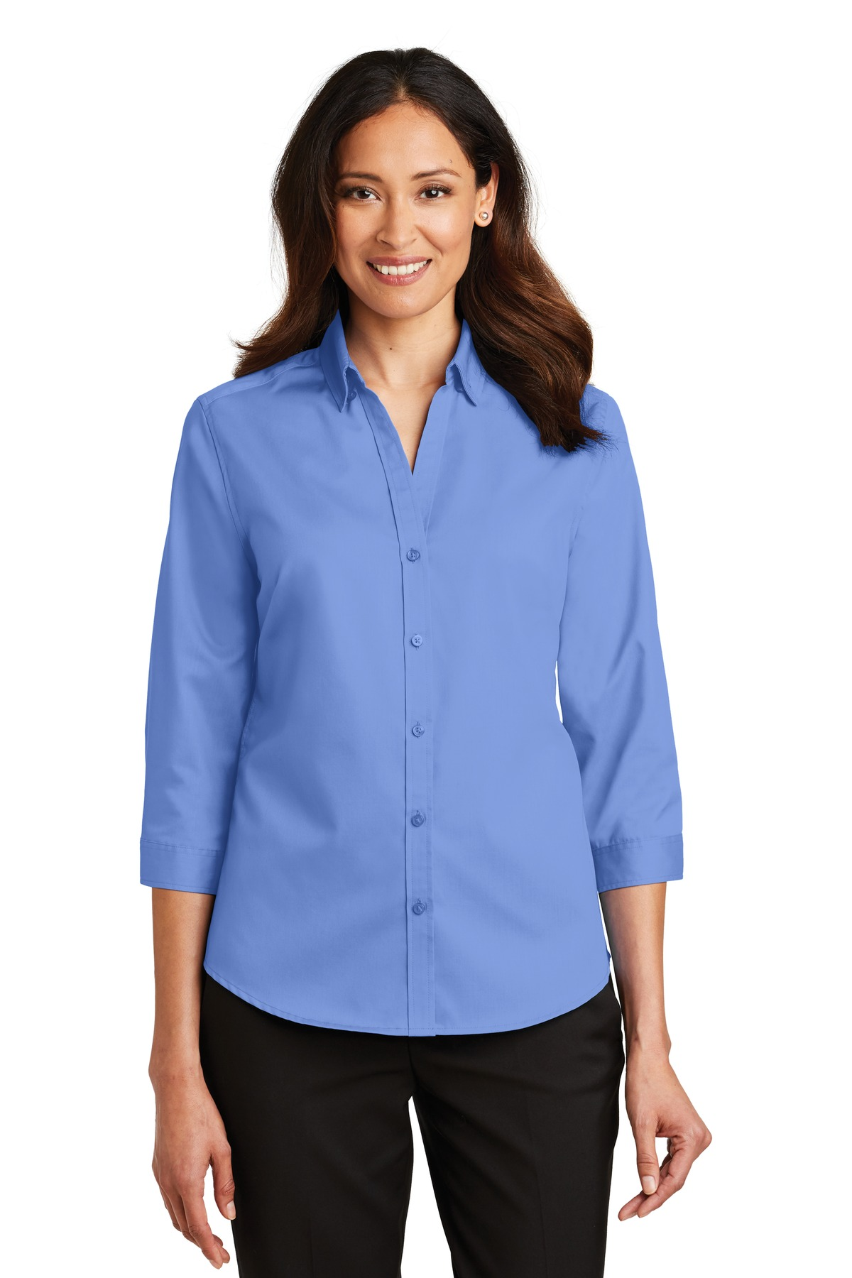 Port Authority ®  Ladies 3/4-Sleeve SuperPro ™  Twill Shirt. L665 - Ultramarine Blue