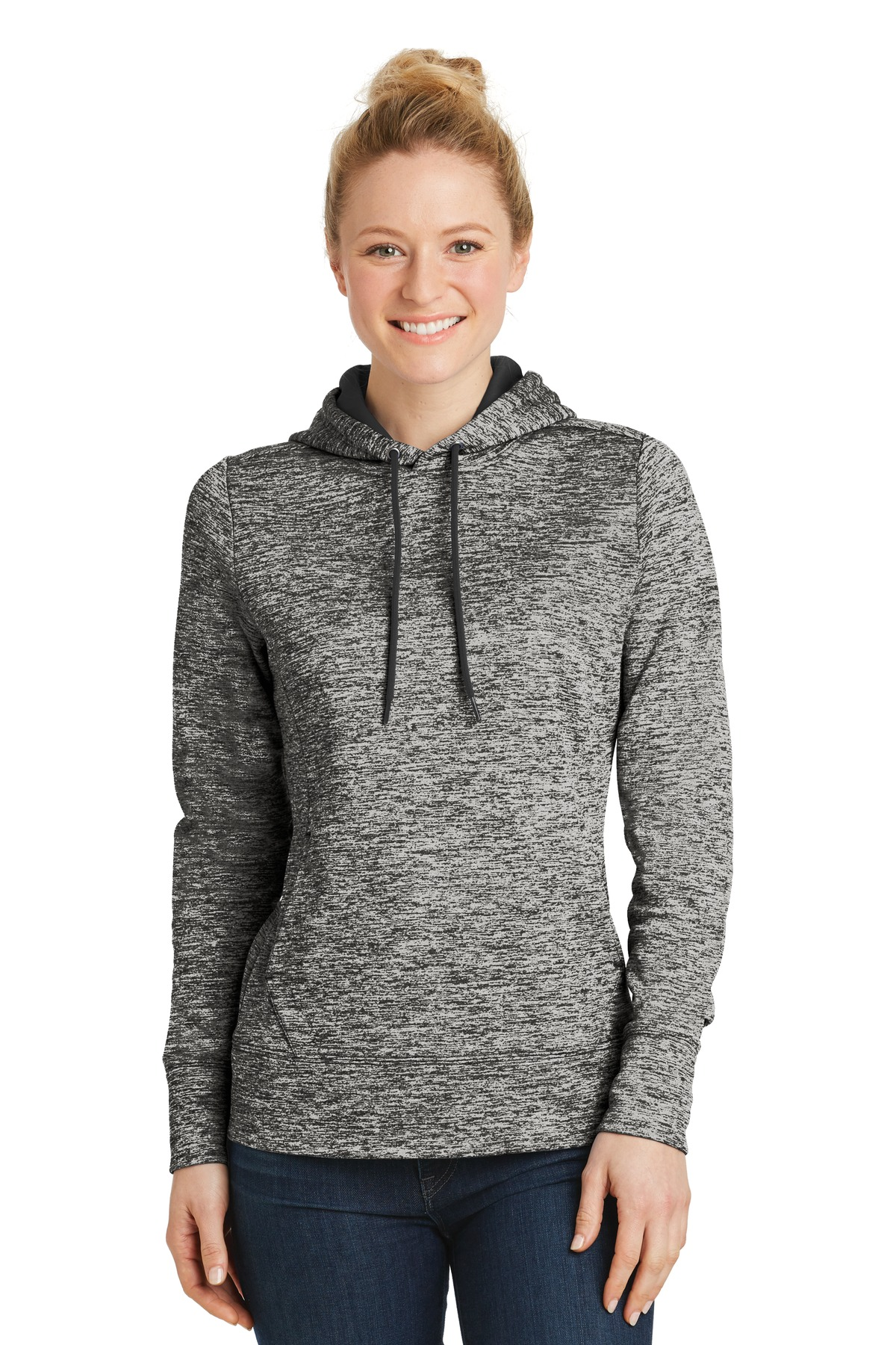 Sport-Tek ®  Ladies PosiCharge ®  Electric Heather Fleece Hooded Pullover. LST225 - Black Electric