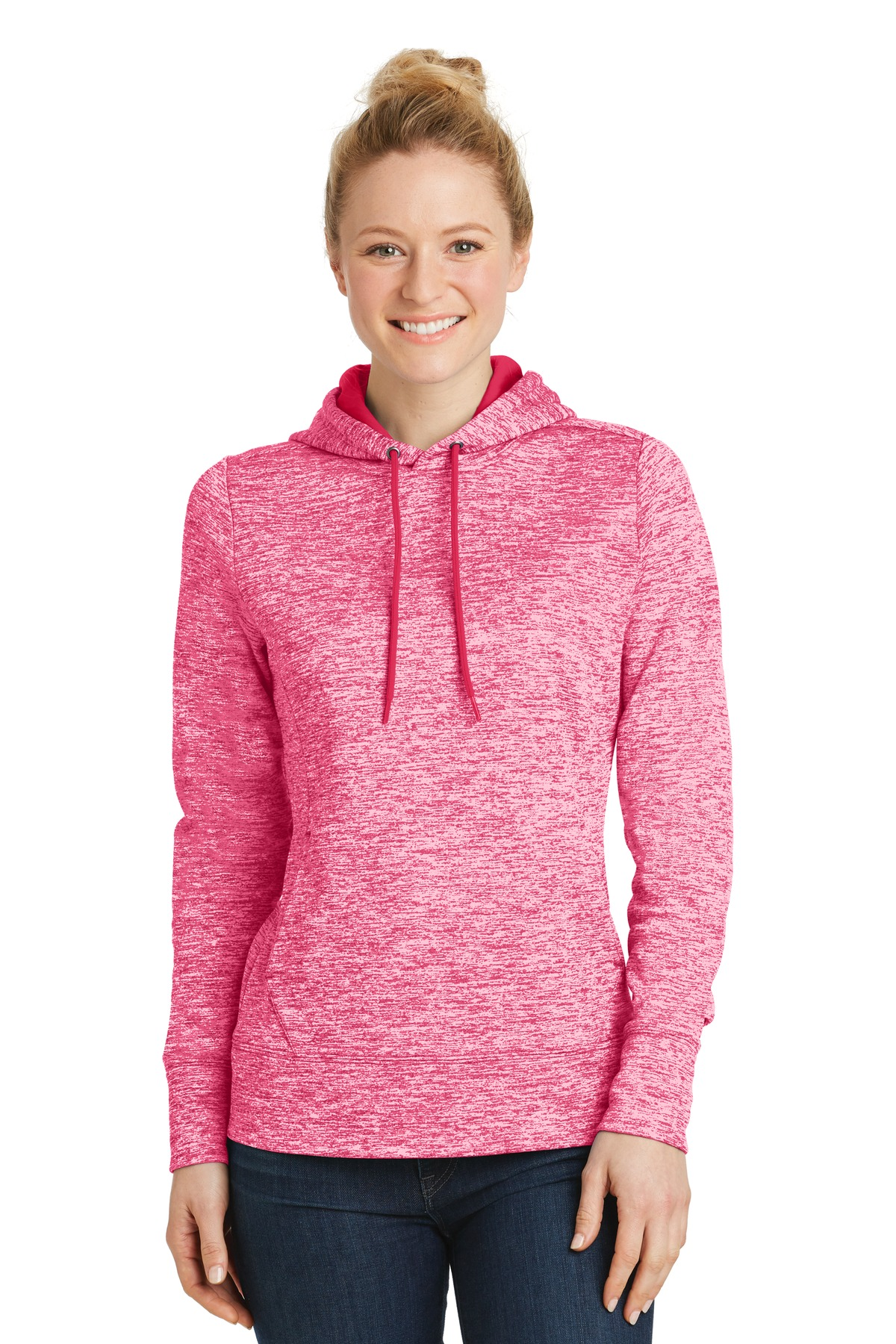 Sport-Tek ®  Ladies PosiCharge ®  Electric Heather Fleece Hooded Pullover. LST225 - Power Pink Electric
