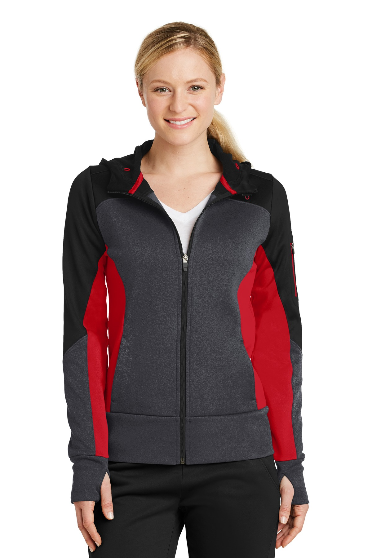 Sport-Tek Ladies Tech Fleece Colorblock Full-Zip Hooded Jacket. LST245