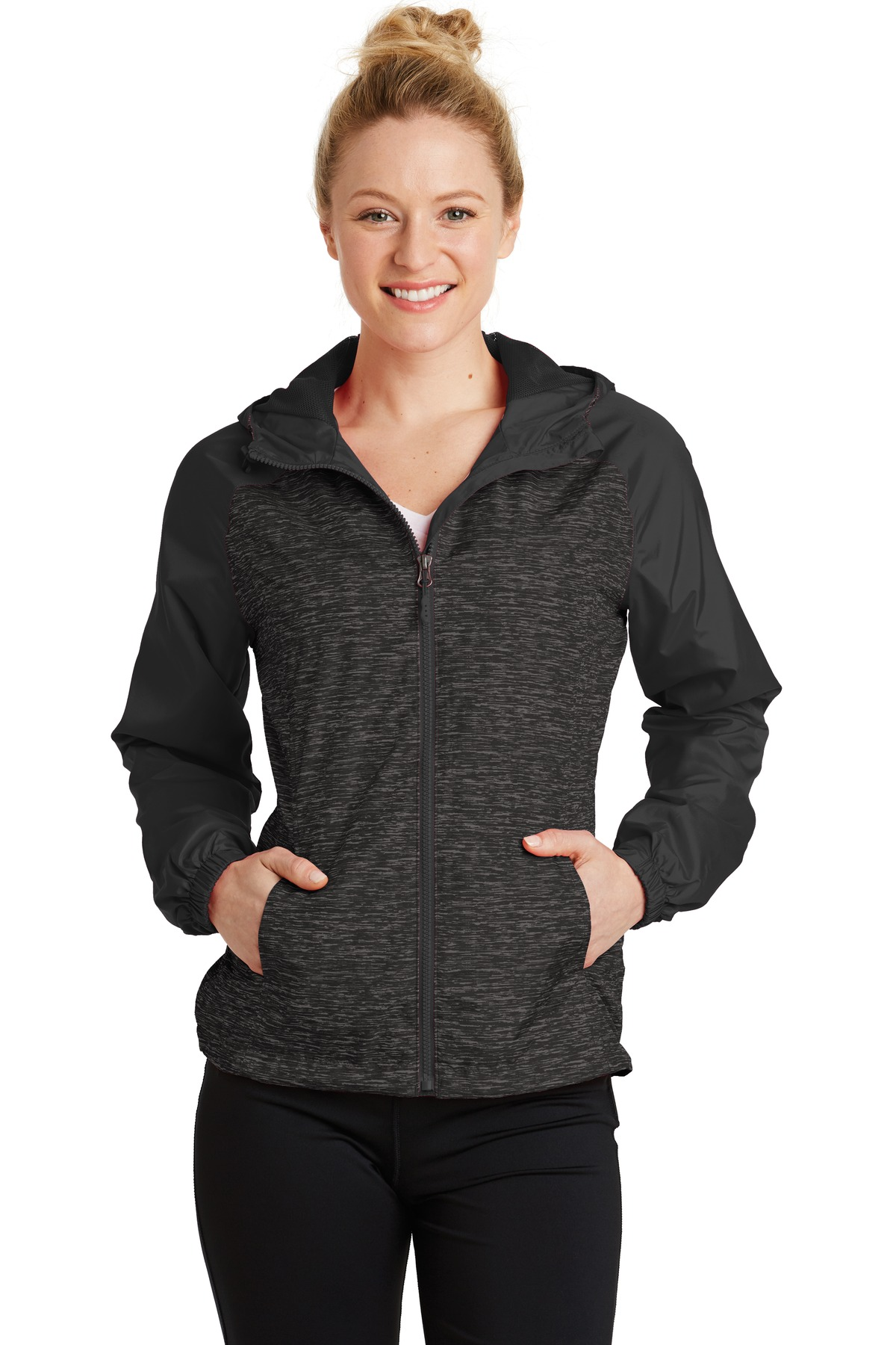 Sport-Tek ®  Ladies Heather Colorblock Raglan Hooded Wind Jacket. LST40 - Black Heather/ Black