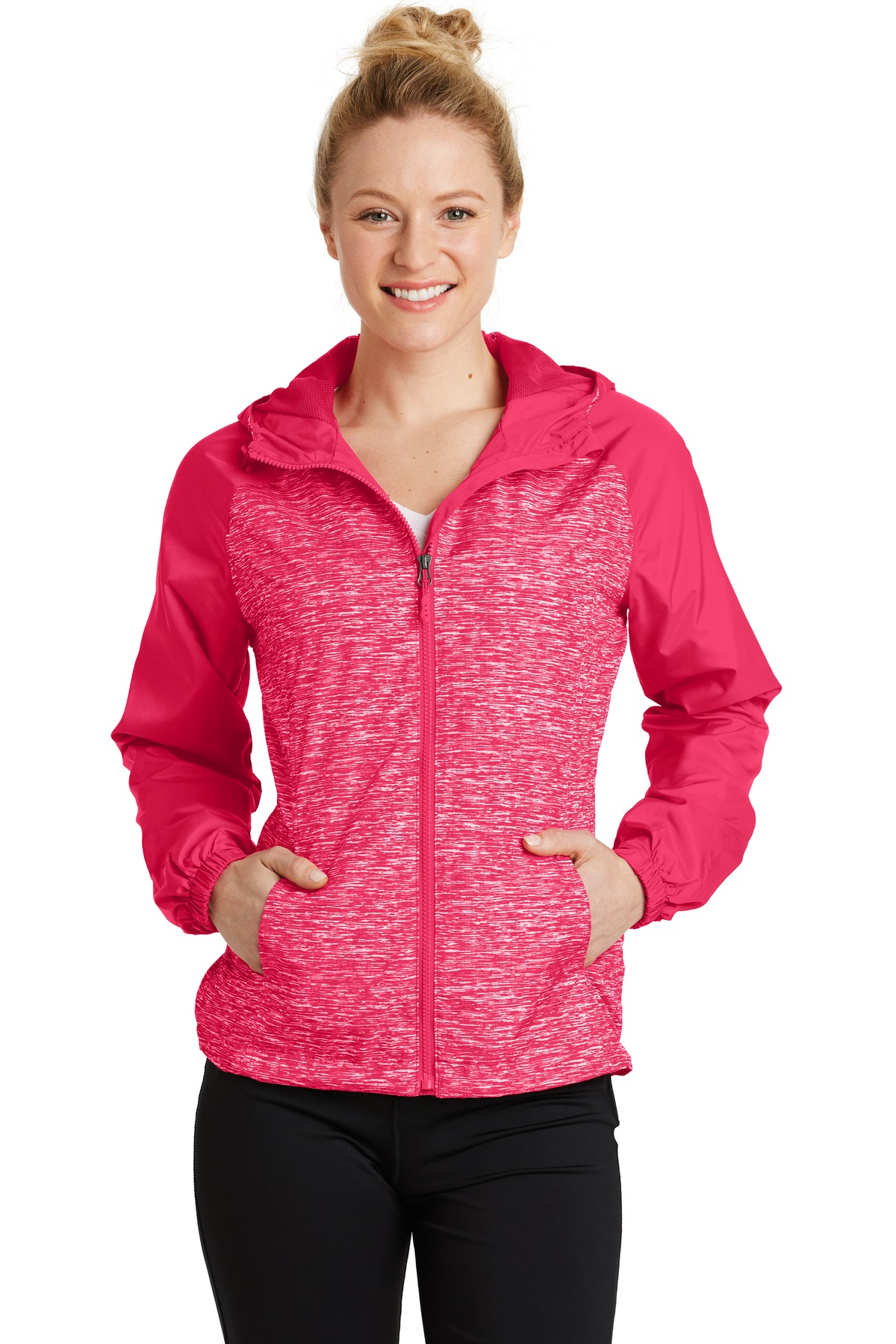 Sport-Tek ®  Ladies Heather Colorblock Raglan Hooded Wind Jacket. LST40 - Pink Raspberry Heather/ Pink Raspberry