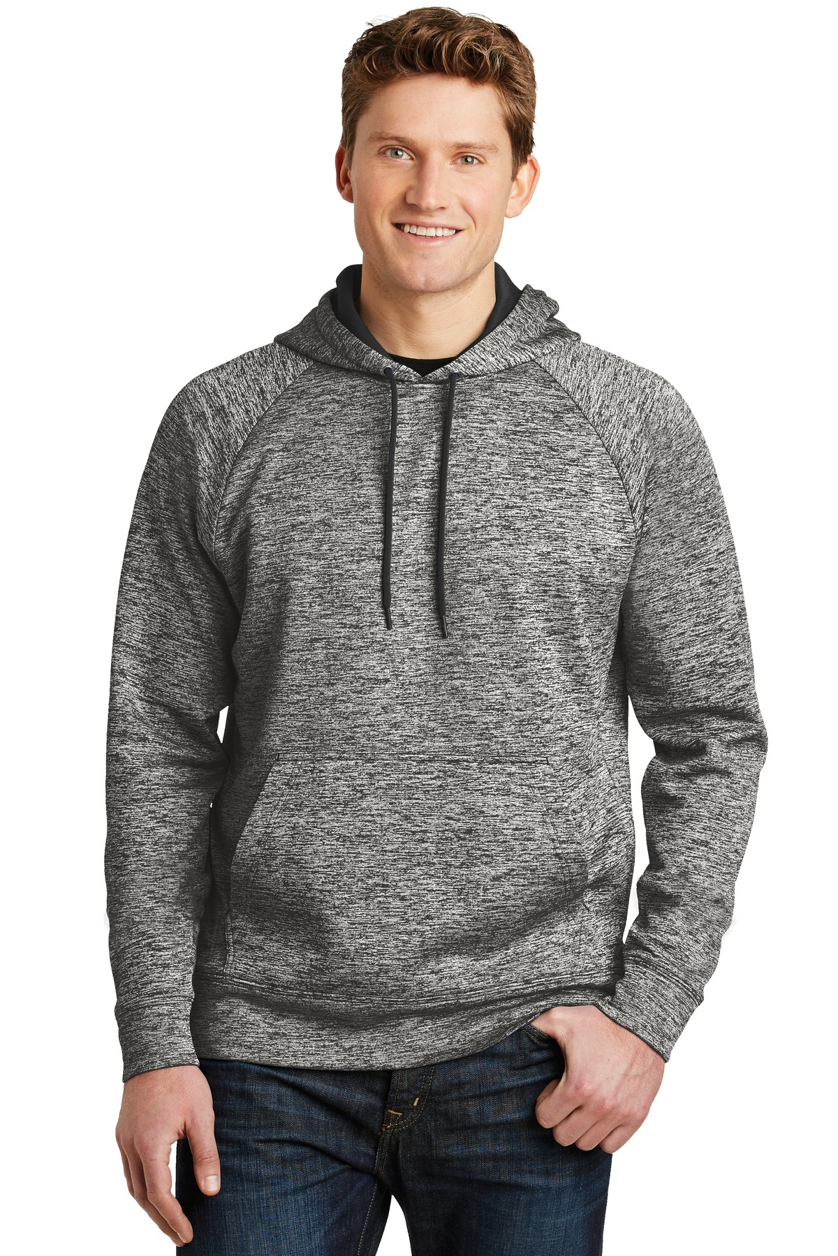 Sport-Tek ®  PosiCharge ®  Electric Heather Fleece Hooded Pullover. ST225 - Black Electric