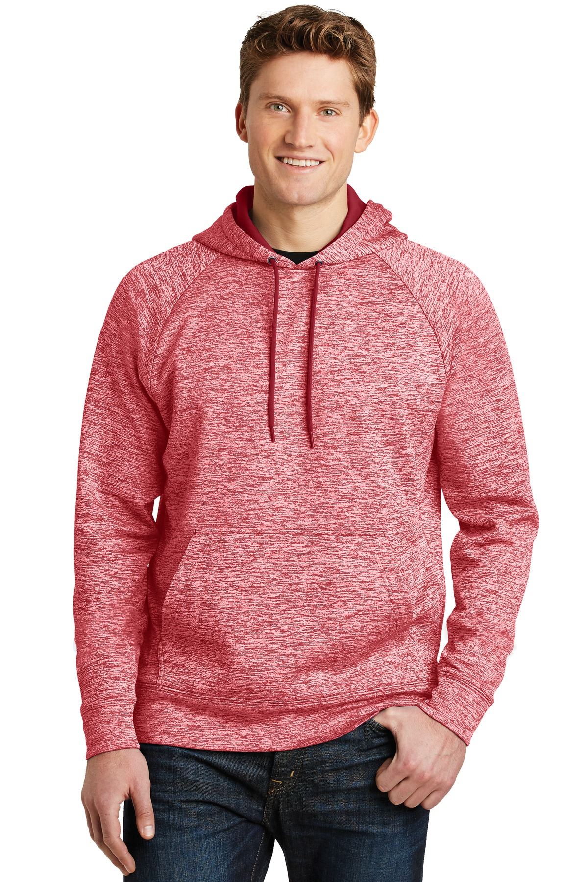 Sport-Tek ®  PosiCharge ®  Electric Heather Fleece Hooded Pullover. ST225 - Deep Red Electric