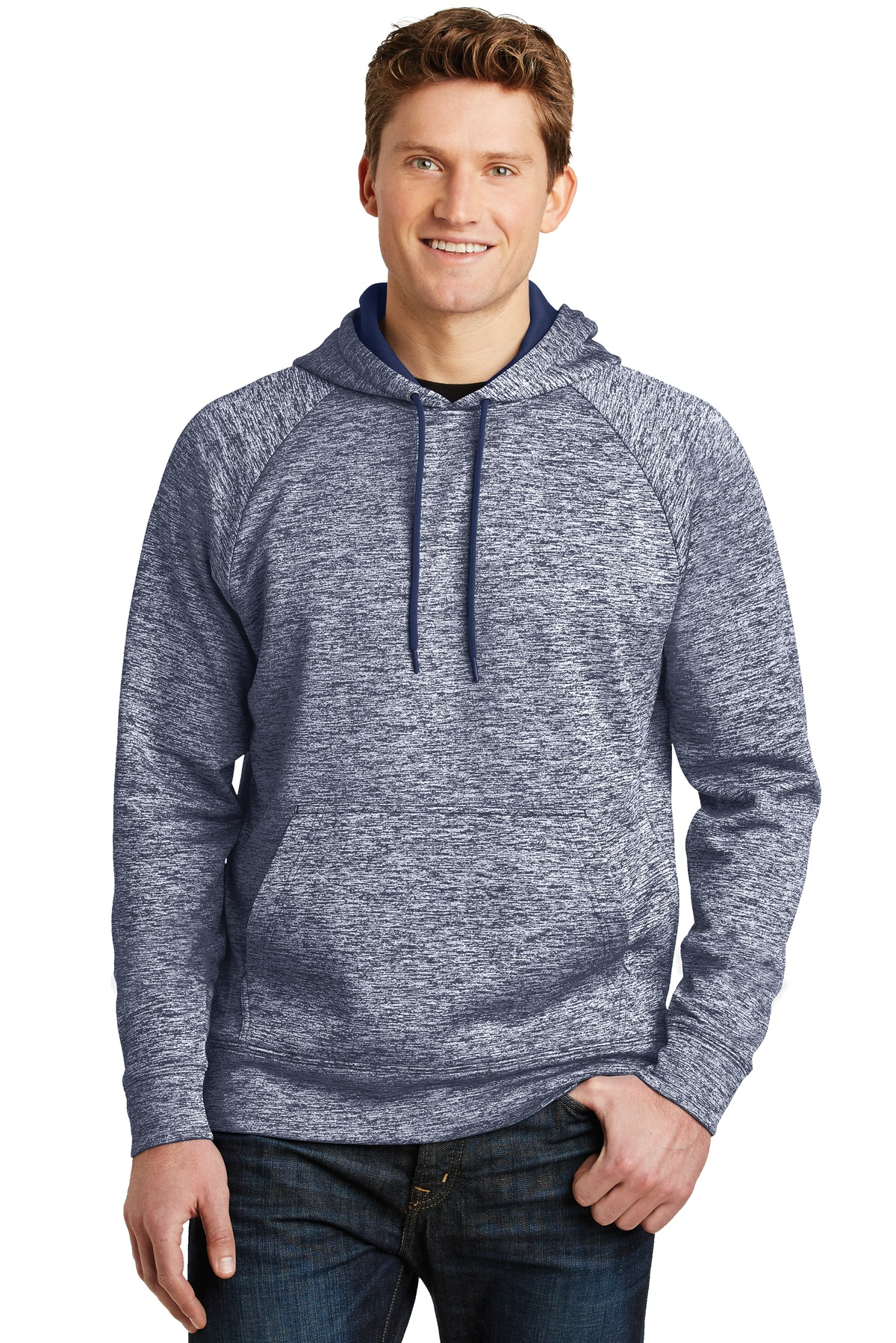 Sport-Tek ®  PosiCharge ®  Electric Heather Fleece Hooded Pullover. ST225 - True Navy Electric