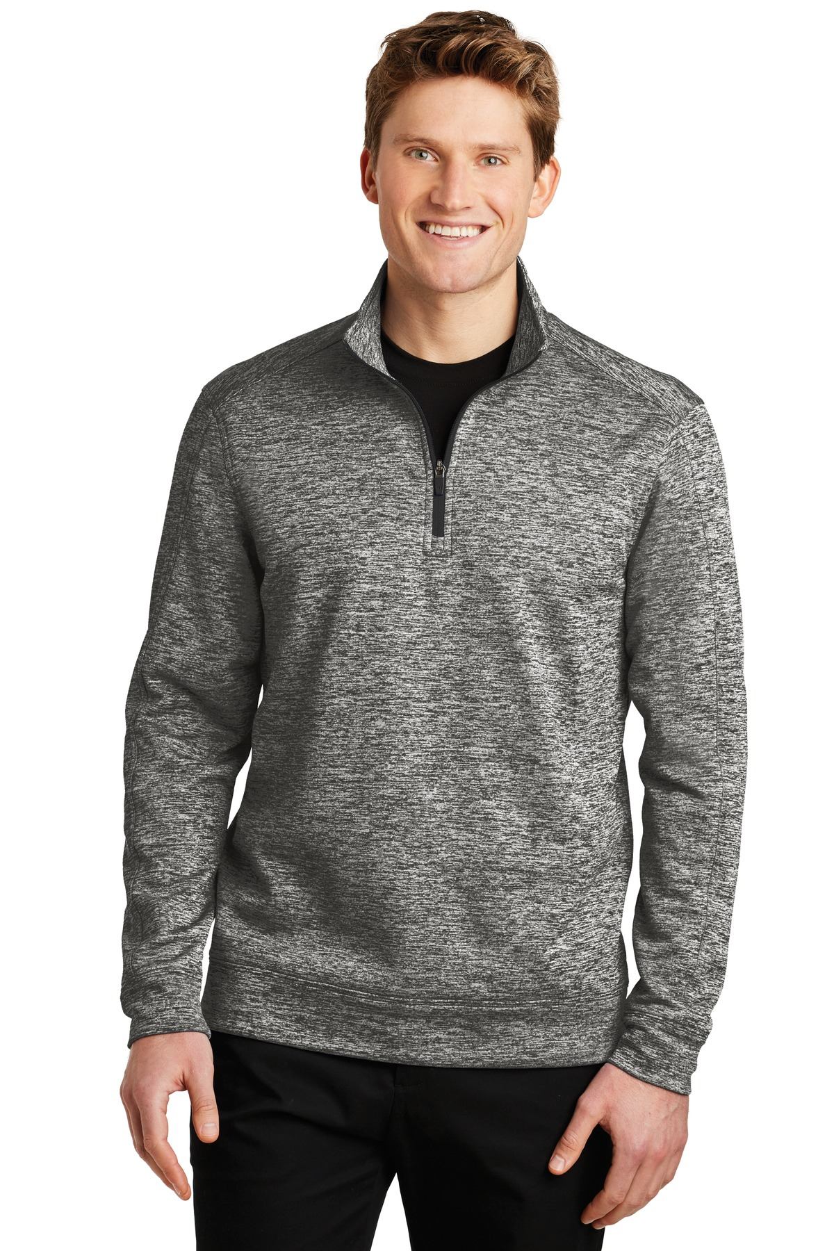 Sport-Tek ®  PosiCharge ®  Electric Heather Fleece 1/4-Zip Pullover. ST226 - Black Electric