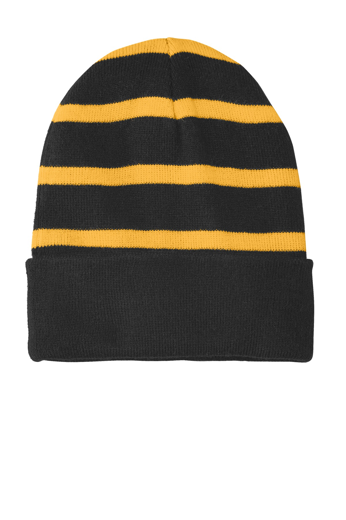 Sport-Tek ®  Striped Beanie with Solid Band. STC31 - Black/ Gold