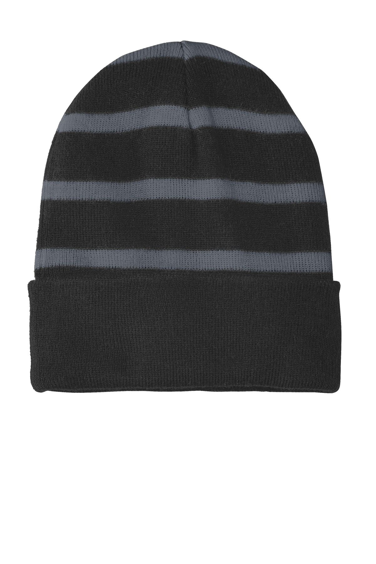 Sport-Tek ®  Striped Beanie with Solid Band. STC31 - Black/ Iron Grey