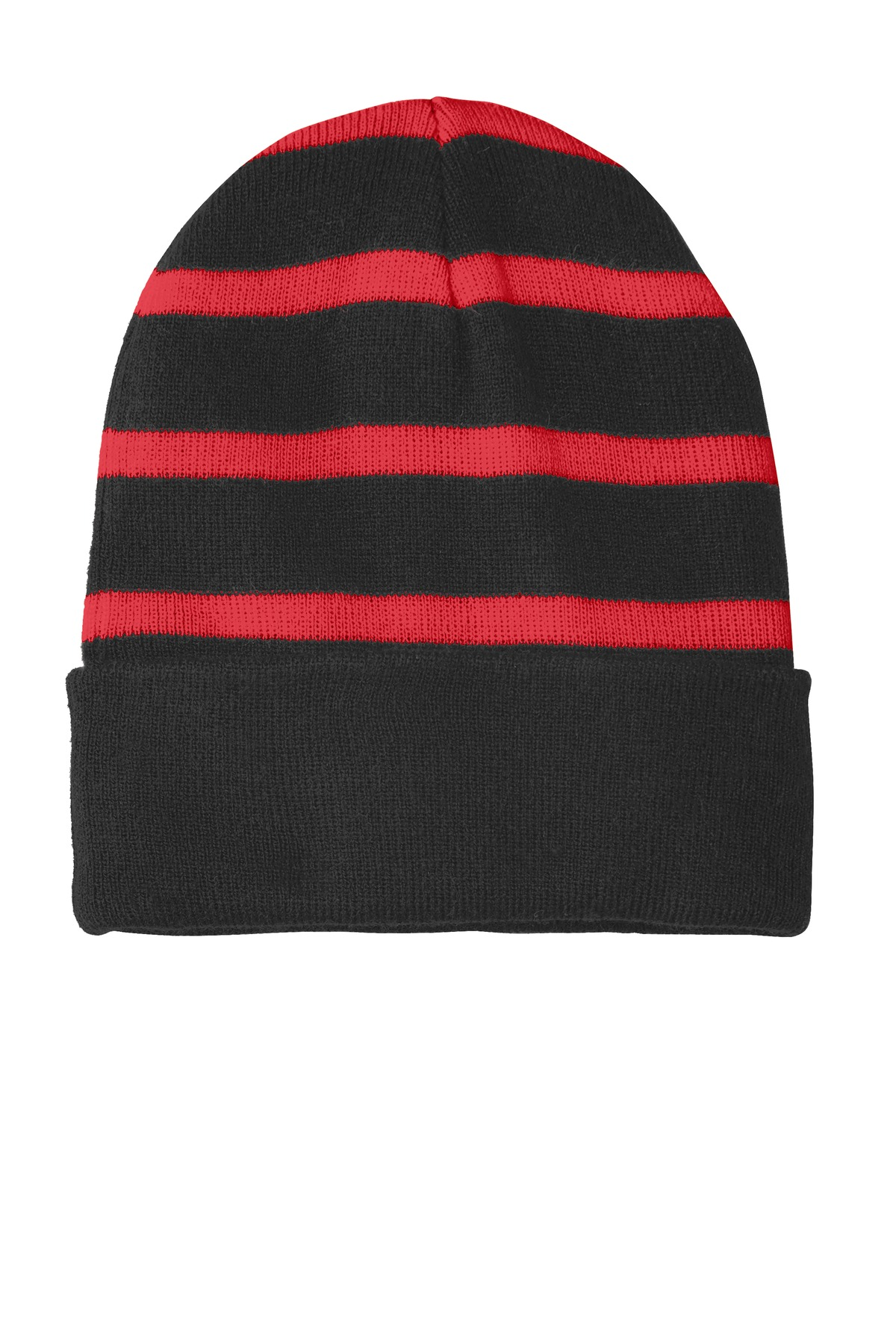 Sport-Tek ®  Striped Beanie with Solid Band. STC31 - Black/ True Red