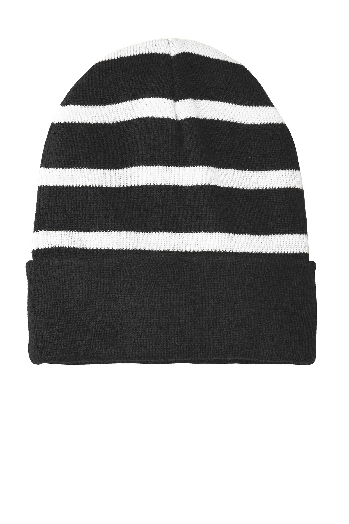 Sport-Tek ®  Striped Beanie with Solid Band. STC31 - Black/ White