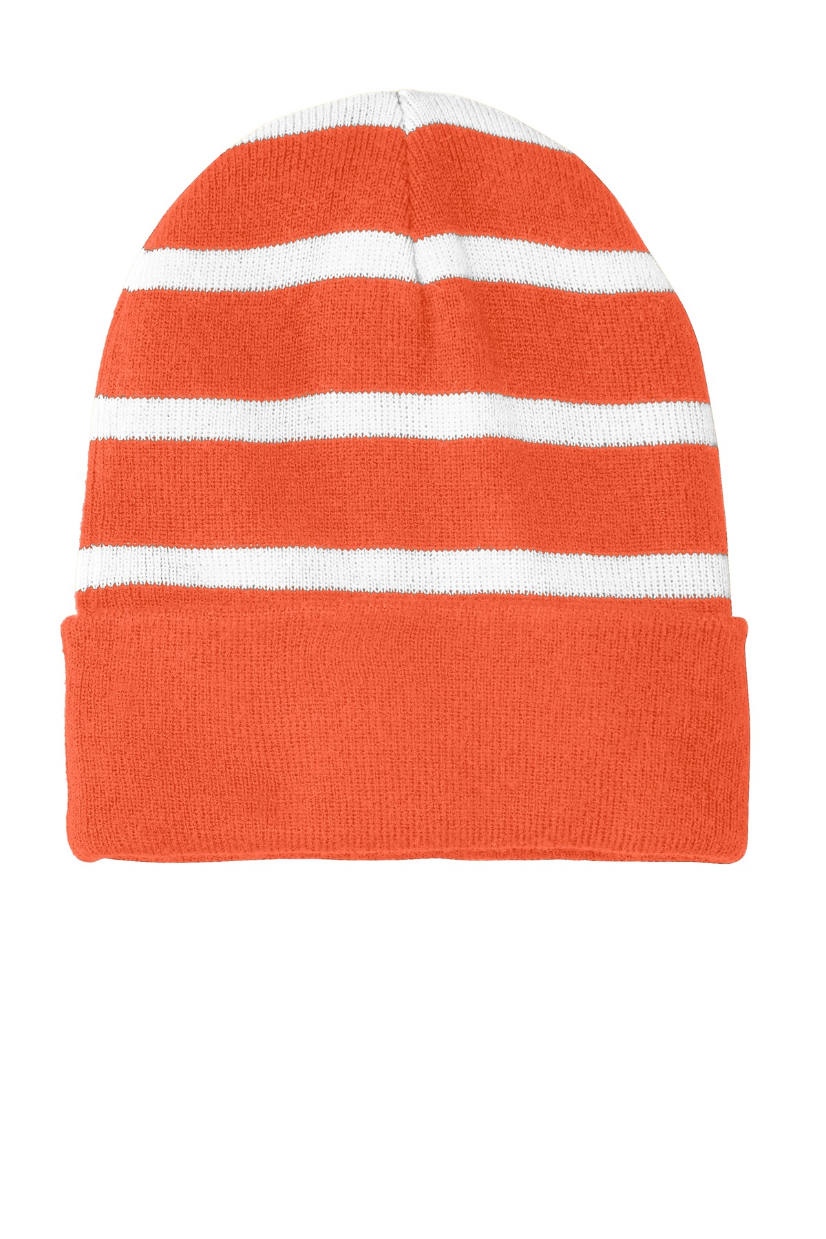 Sport-Tek ®  Striped Beanie with Solid Band. STC31 - Deep Orange/ White