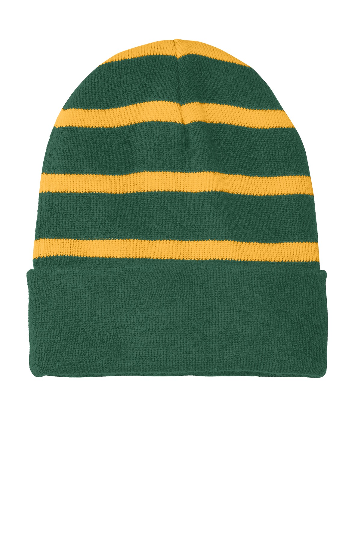 Sport-Tek ®  Striped Beanie with Solid Band. STC31 - Forest Green/ Gold