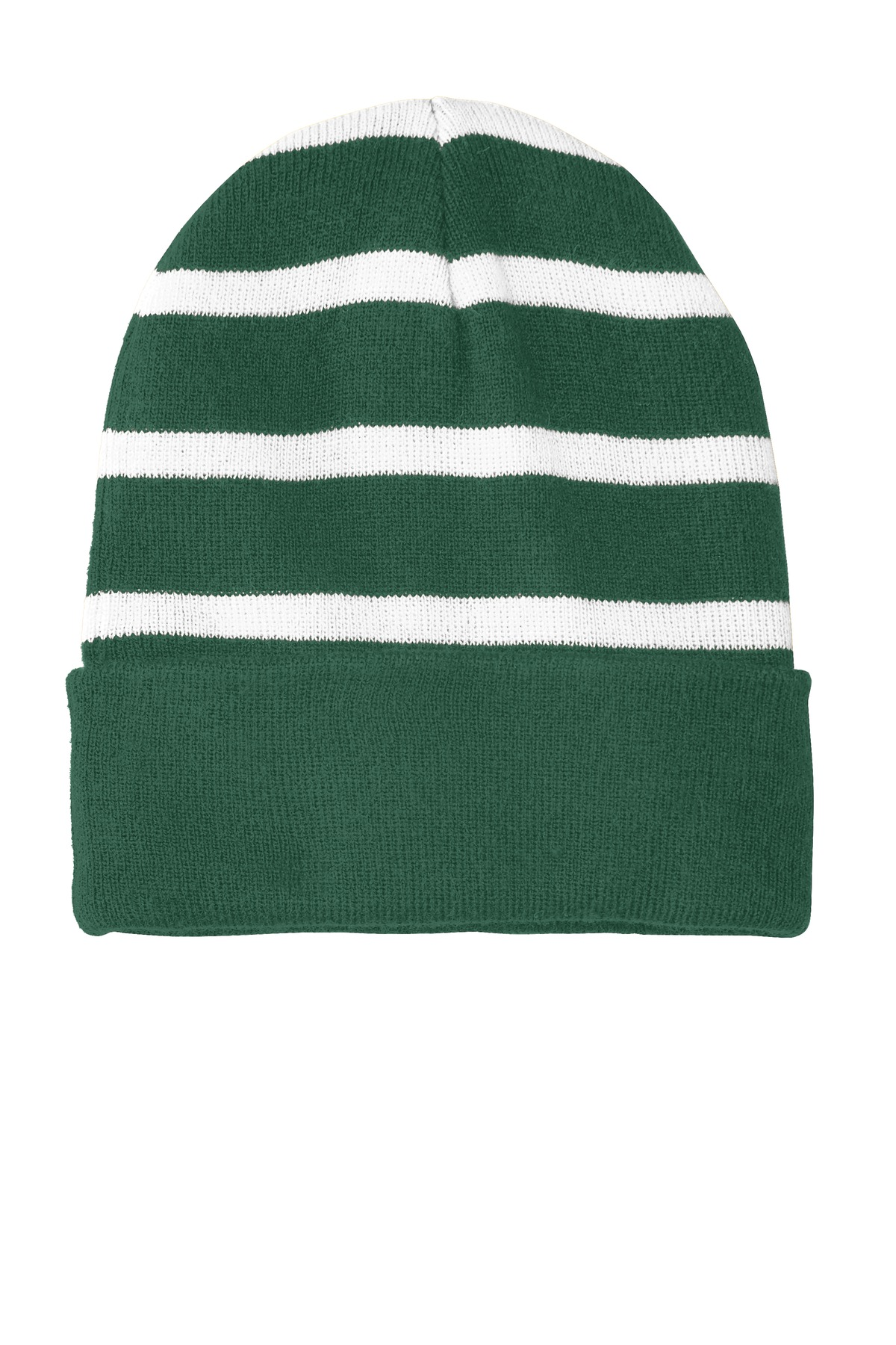 Sport-Tek ®  Striped Beanie with Solid Band. STC31 - Forest Green/ White