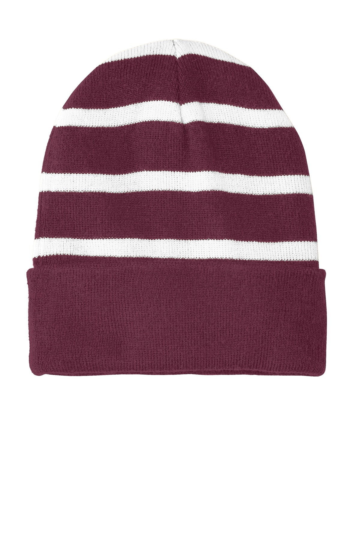 Sport-Tek ®  Striped Beanie with Solid Band. STC31 - Maroon/ White