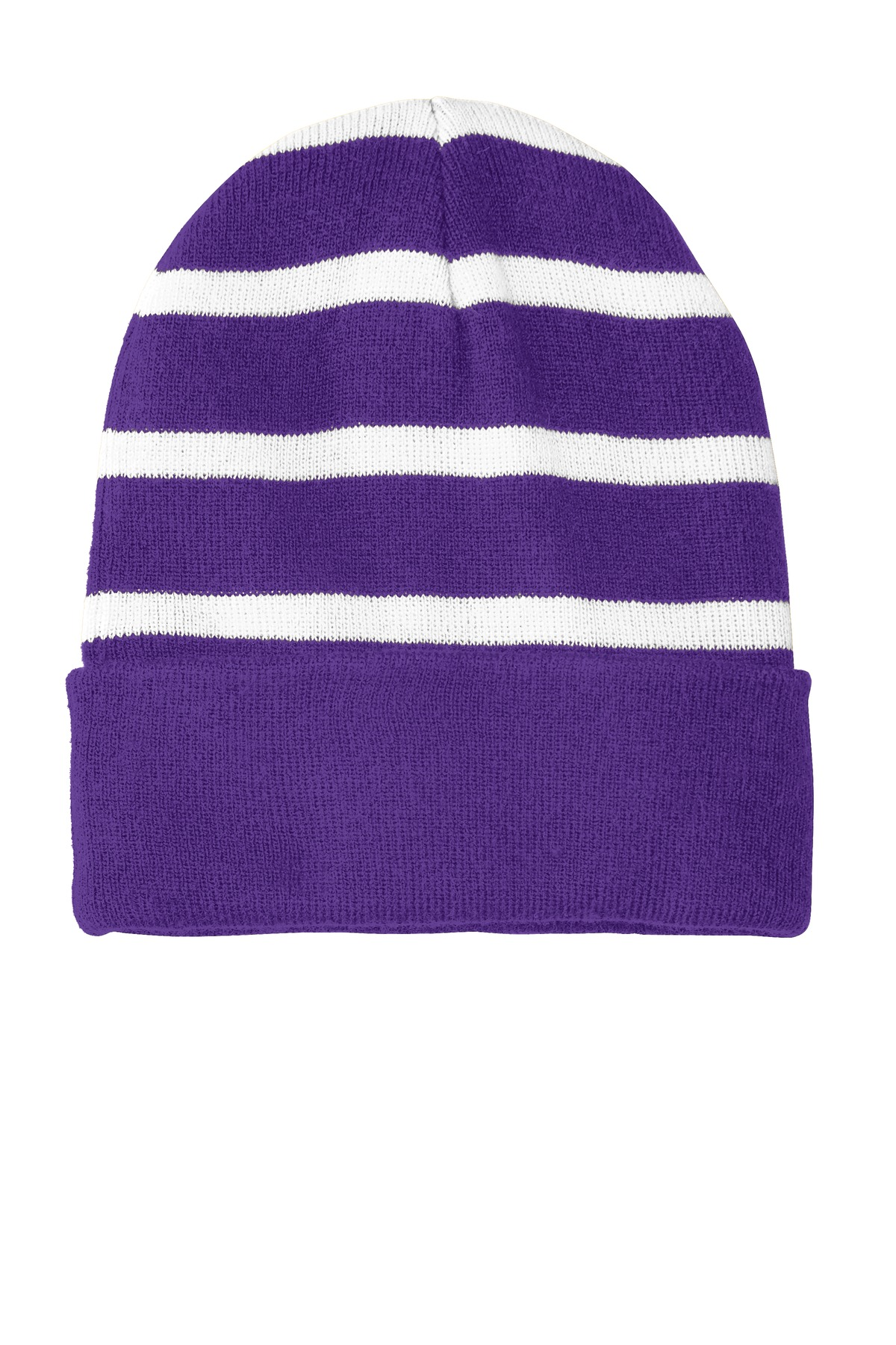 Sport-Tek ®  Striped Beanie with Solid Band. STC31 - Purple/ White
