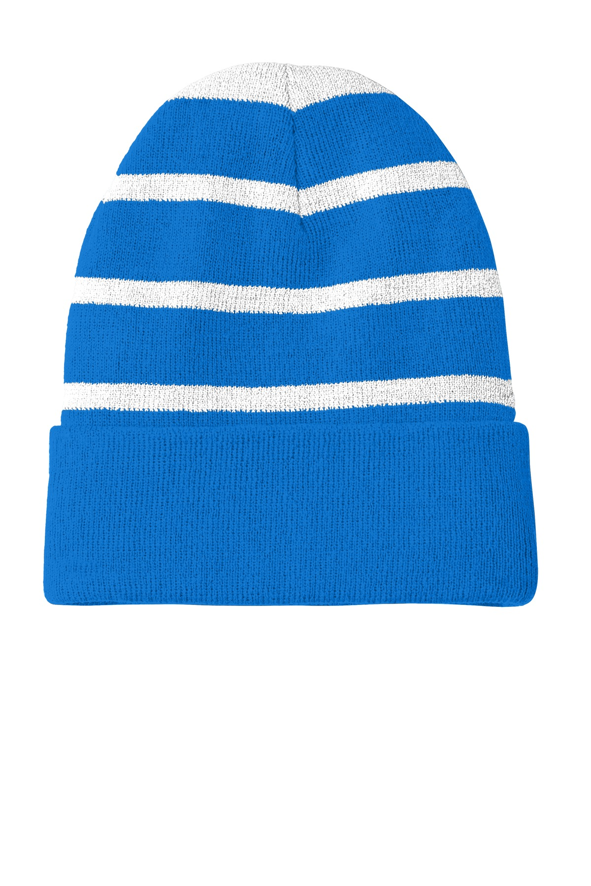 Sport-Tek ®  Striped Beanie with Solid Band. STC31 - Sport Blue/ Silver
