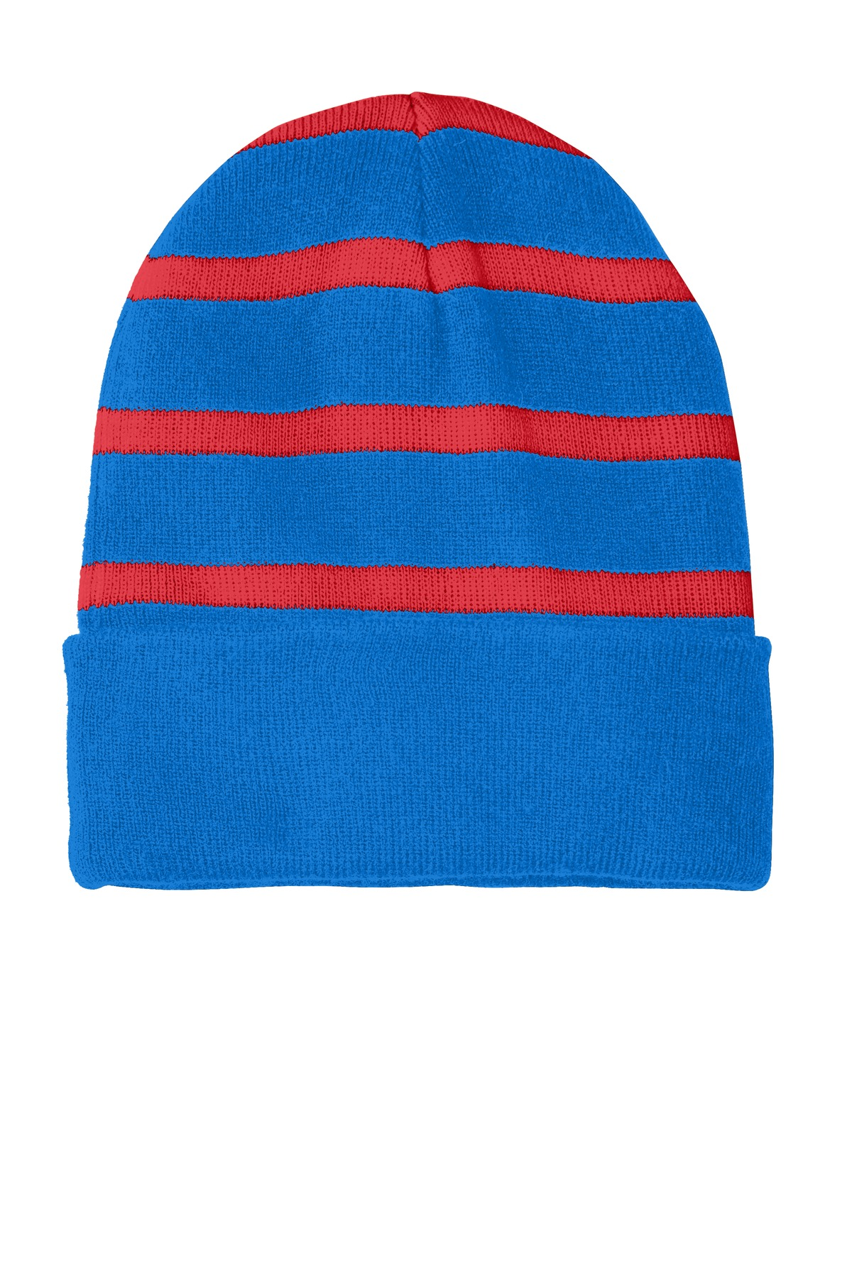 Sport-Tek ®  Striped Beanie with Solid Band. STC31 - Sport Blue/ True Red