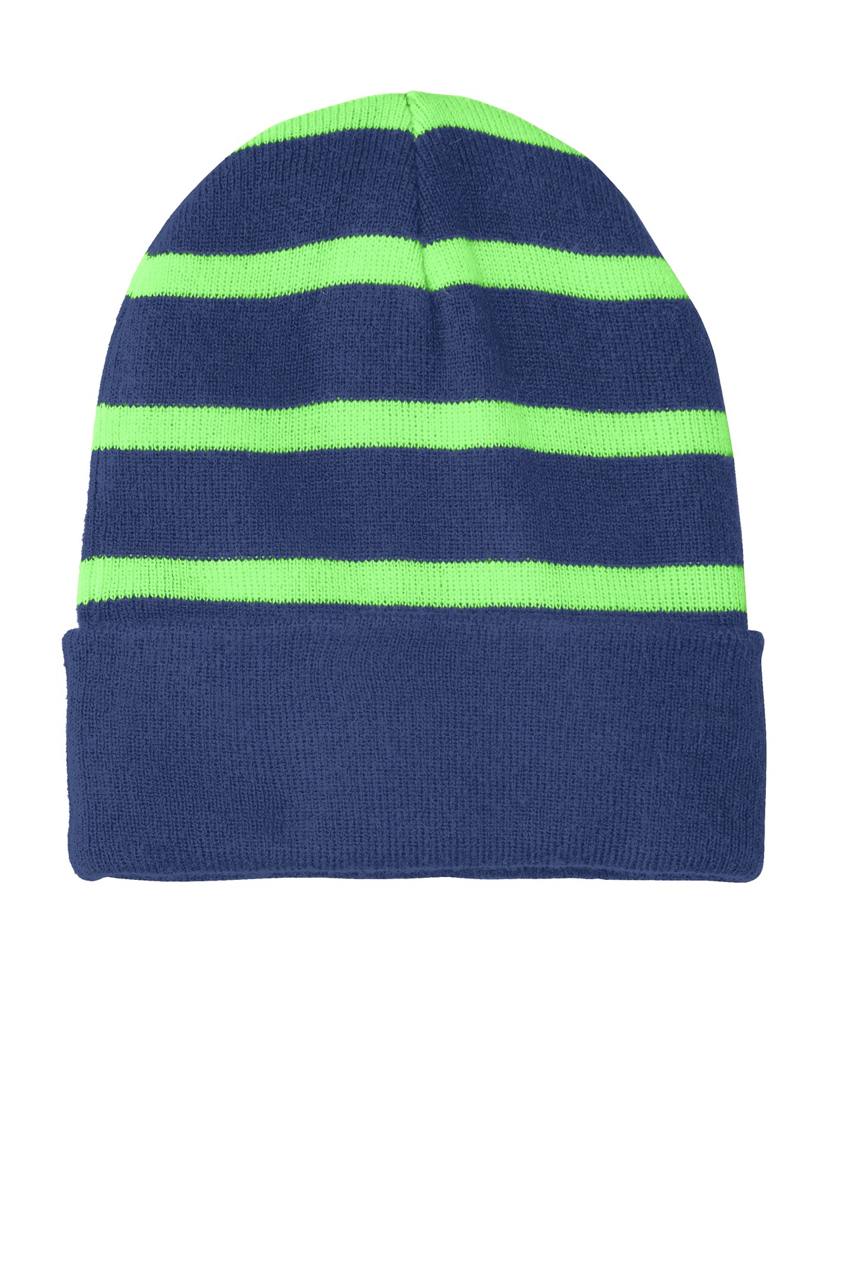 Sport-Tek ®  Striped Beanie with Solid Band. STC31 - Team Navy/ Flash Green