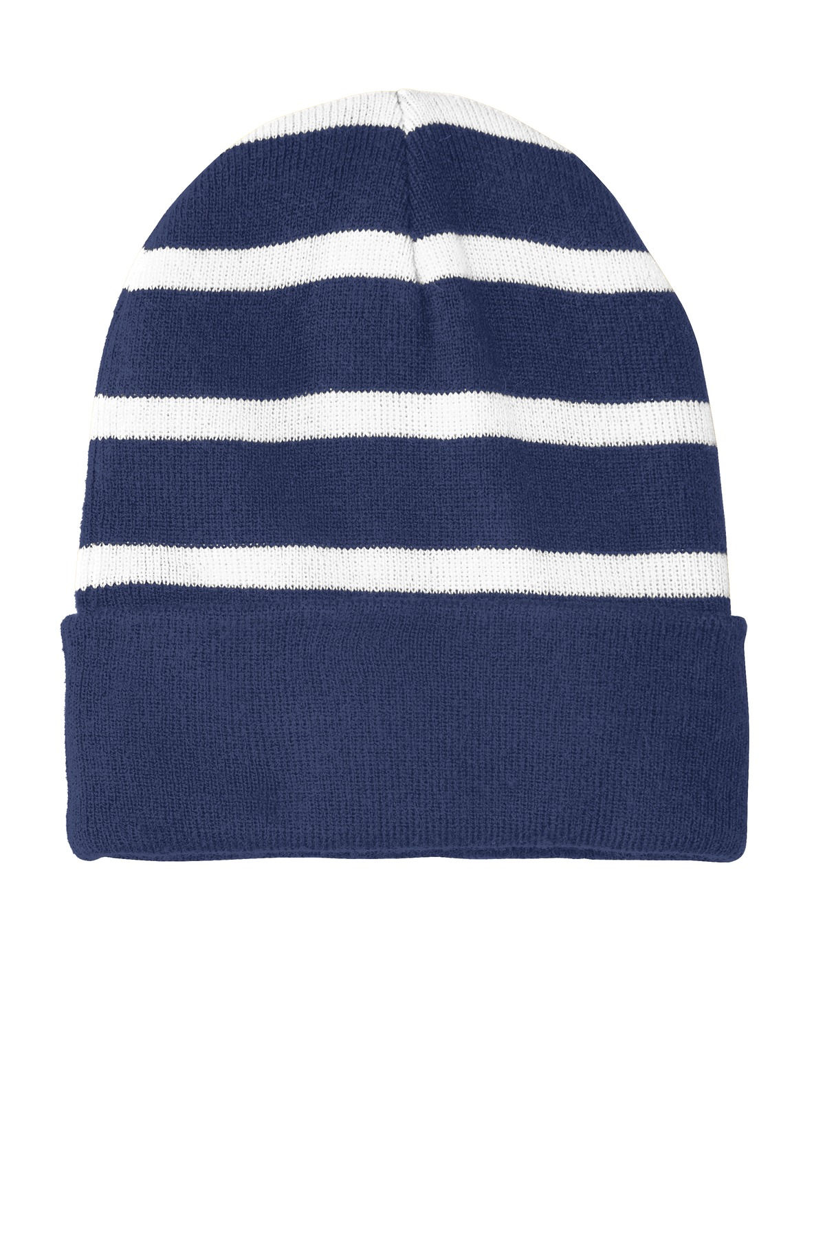 Sport-Tek ®  Striped Beanie with Solid Band. STC31 - True Navy/ White