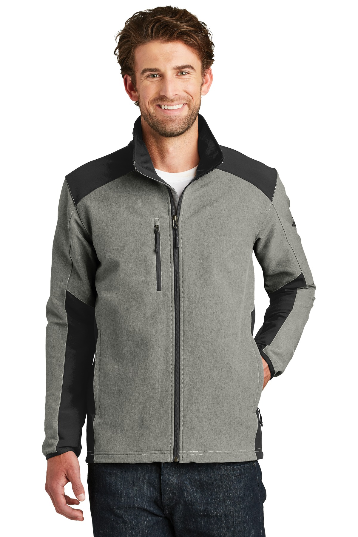 The North Face  ®  Tech Stretch Soft Shell Jacket. NF0A3LGV - TNF Medium Grey Heather/ TNF Black