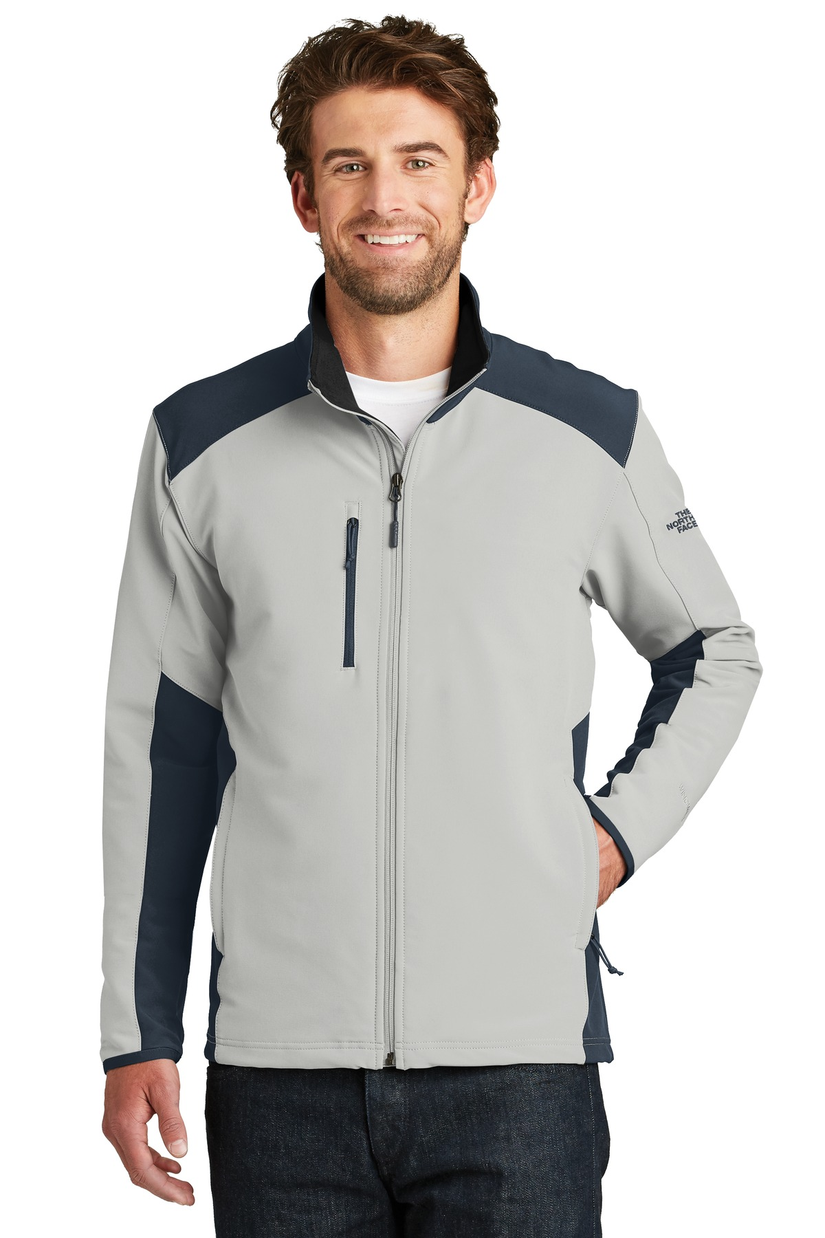 The North Face  ®  Tech Stretch Soft Shell Jacket. NF0A3LGV - Mid Grey/ Urban Navy