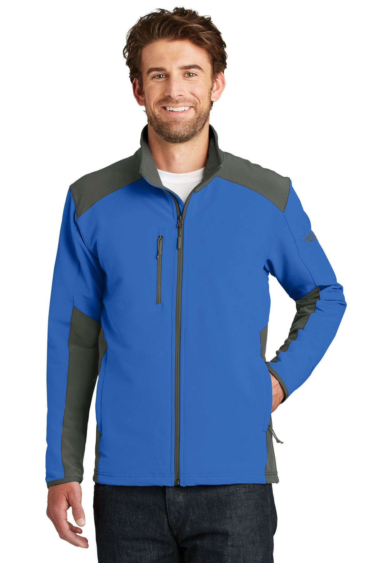 The North Face  ®  Tech Stretch Soft Shell Jacket. NF0A3LGV - Monster Blue/ Asphalt Grey