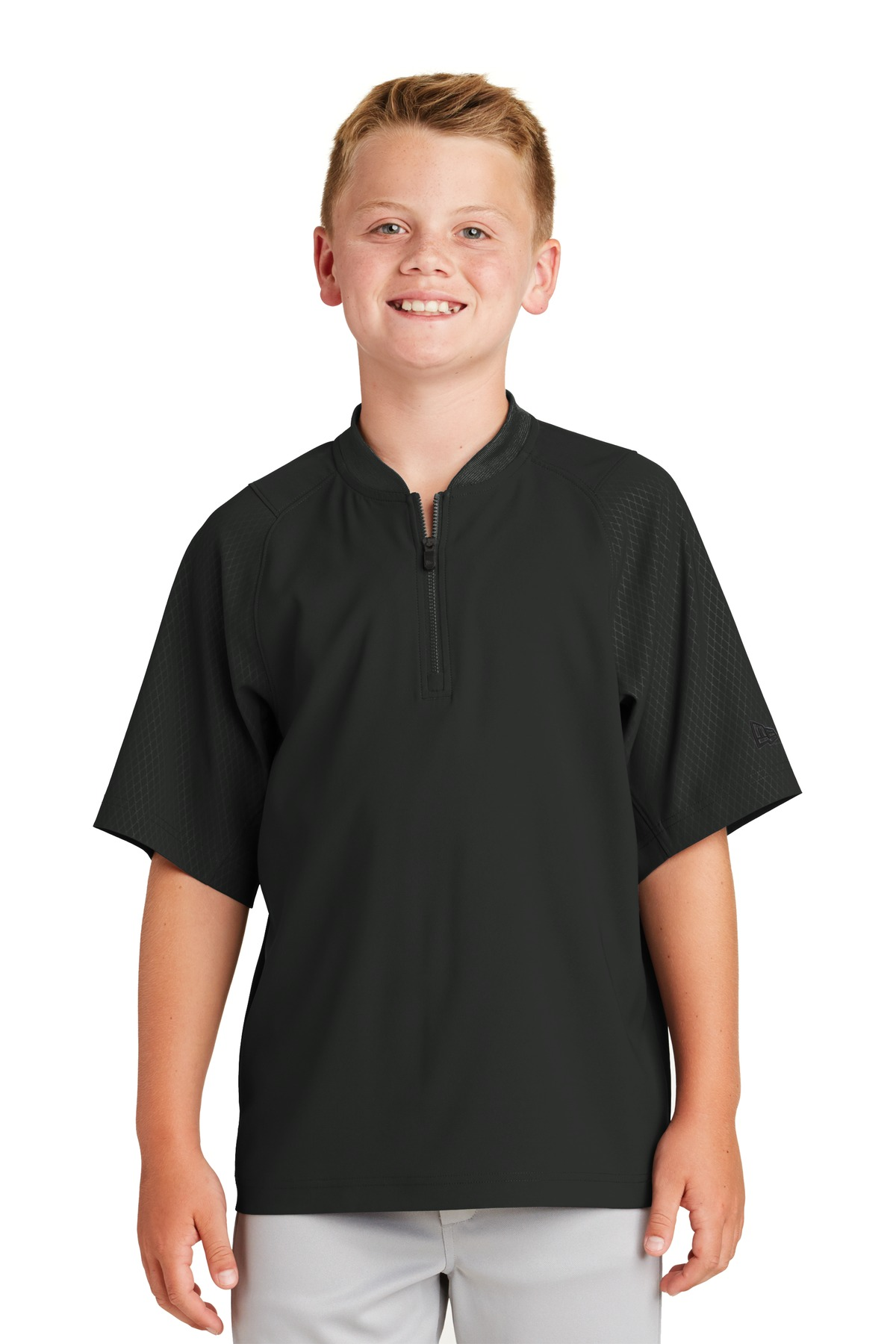 New Era  ®  Youth Cage Short Sleeve 1/4-Zip Jacket. YNEA600 - Black
