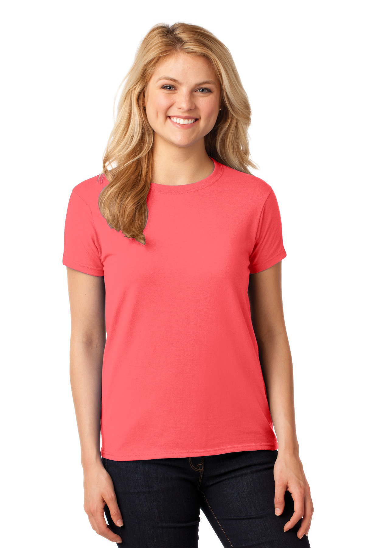 Gildan ®  Ladies Heavy Cotton™ 100% Cotton T-Shirt. 5000L - Coral Silk