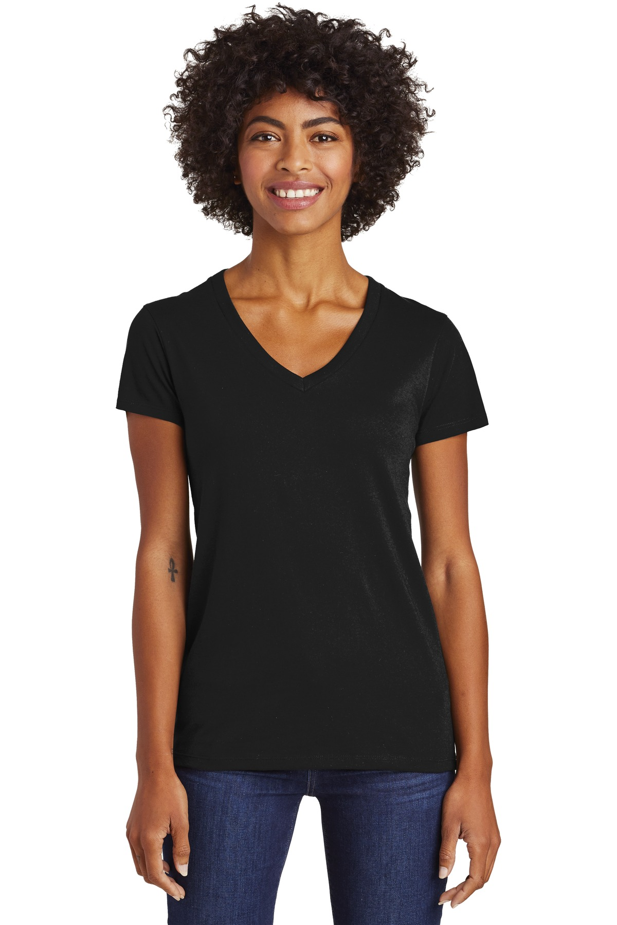 Alternative Women's Runaway Blended Jersey V-Neck Tee. AA6046 - Black