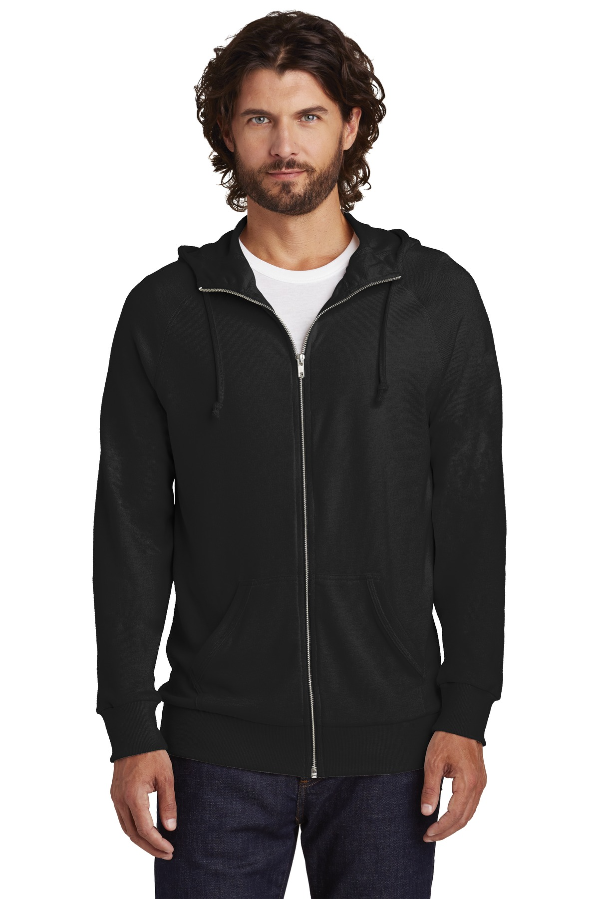 Alternative Vintage Heavy Knit Weekender Zip Hoodie. AA7601 - Black