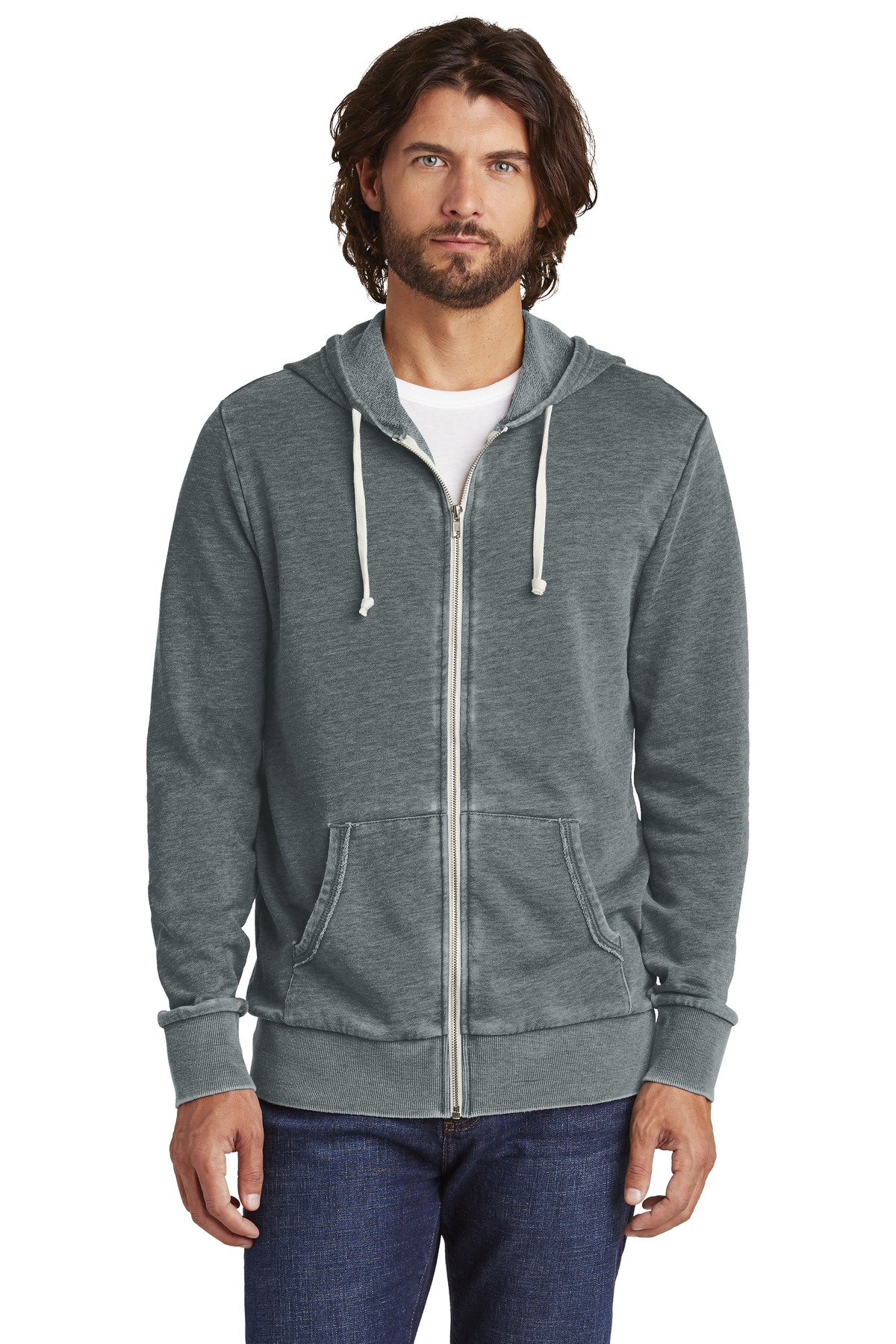 Alternative Burnout Laid-Back Zip Hoodie. AA8636 - Washed Black