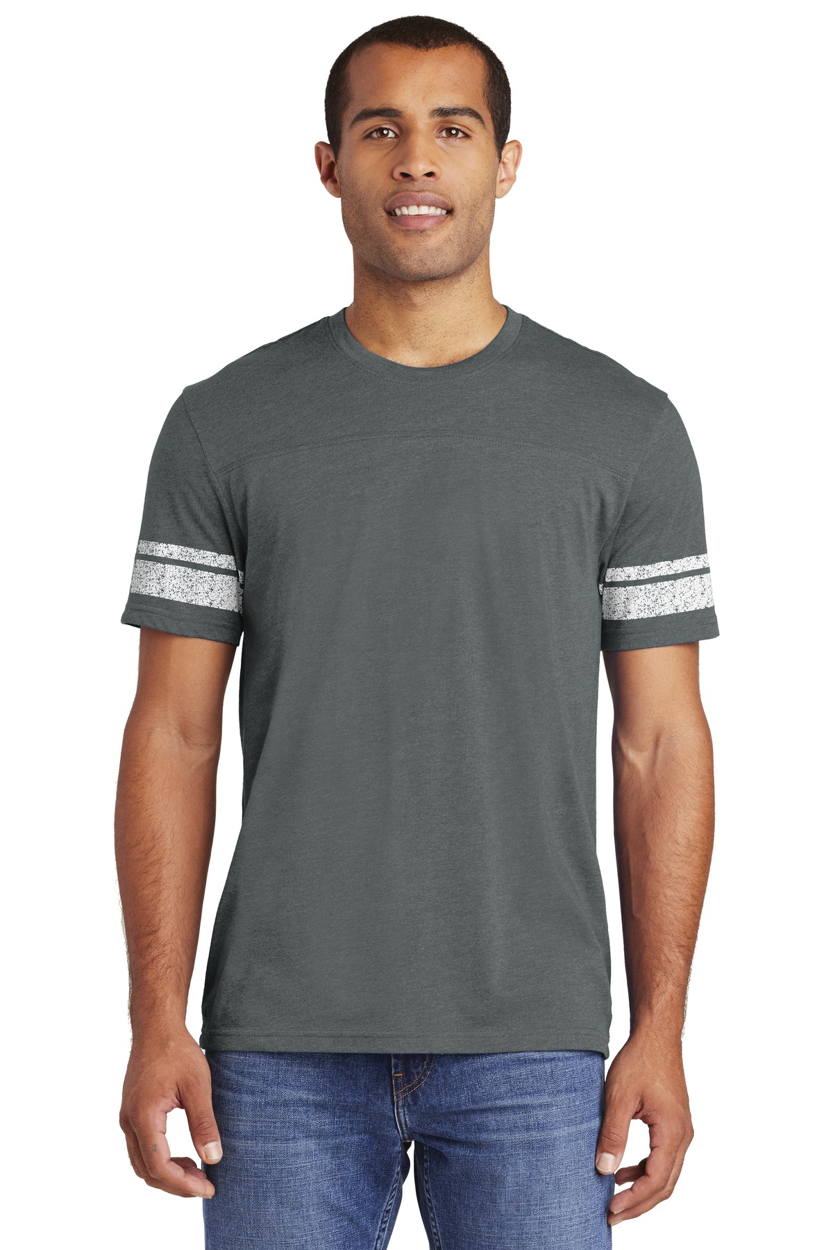 District   ®  Game Tee. DT376 - Heathered Charcoal/ White