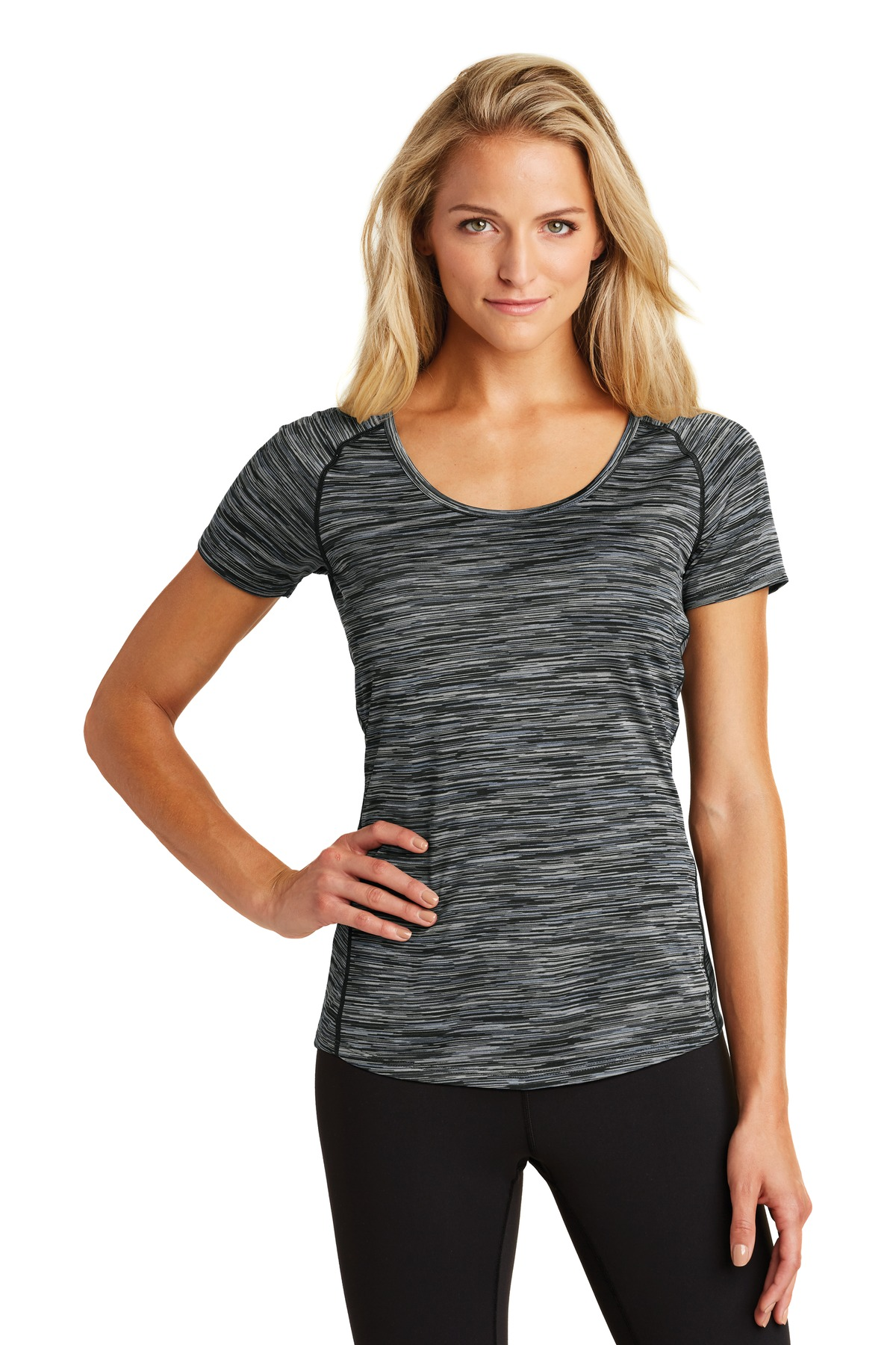 OGIO  ®  ENDURANCE Ladies Verge Scoop Neck. LOE326 - Blacktop Space Dye