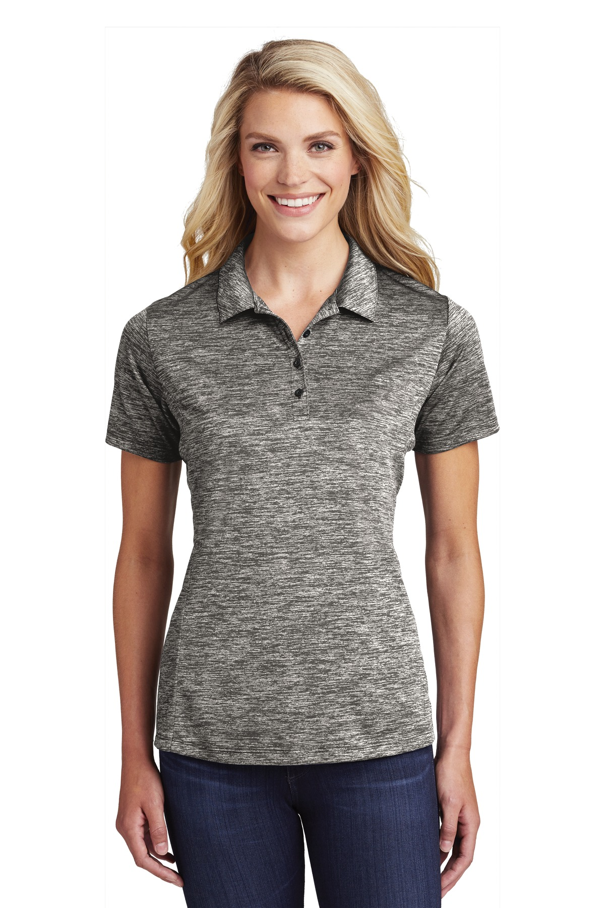 Sport-Tek  ®  Ladies PosiCharge  ®  Electric Heather Polo. LST590 - Black Electric