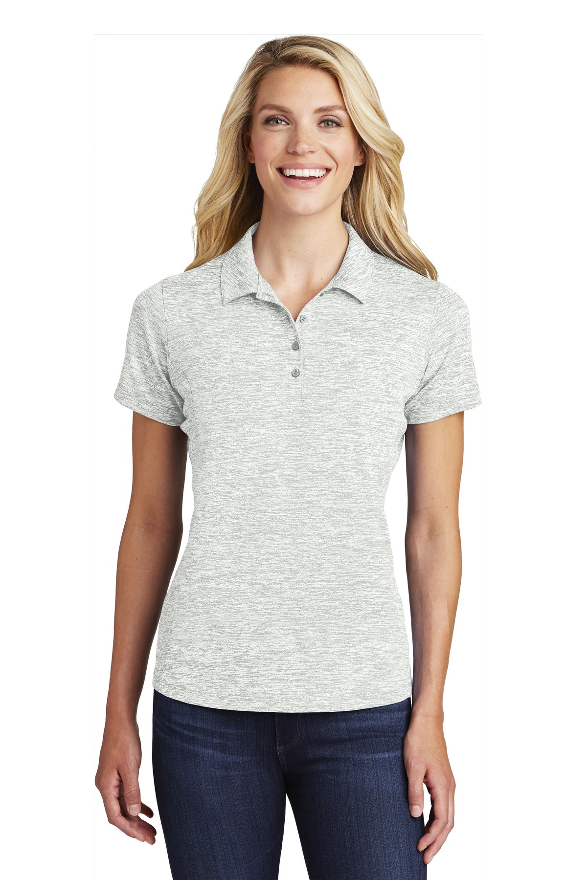 Sport-Tek  ®  Ladies PosiCharge  ®  Electric Heather Polo. LST590 - Silver Electric