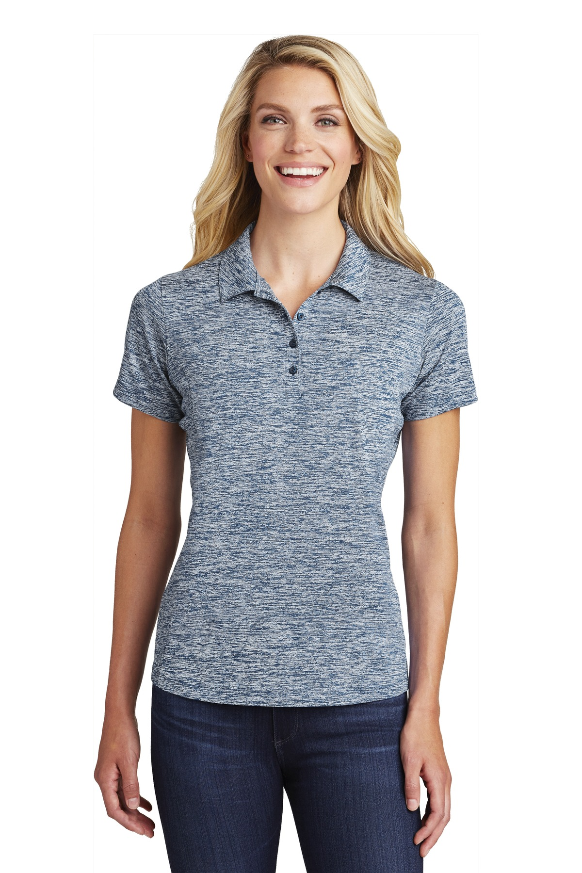 Sport-Tek  ®  Ladies PosiCharge  ®  Electric Heather Polo. LST590 - True Navy Electric