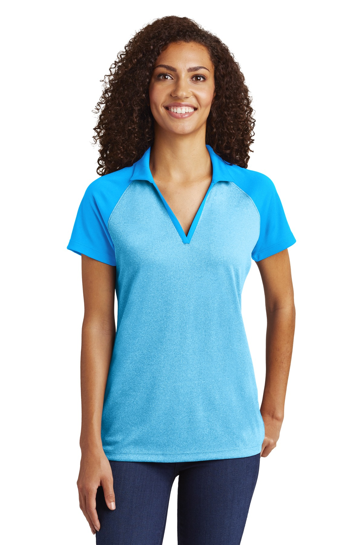 Sport-Tek  ®  Ladies PosiCharge  ®  RacerMesh  ®  Raglan Heather Block Polo. LST641 - Pond Blue Heather/Pond Blue
