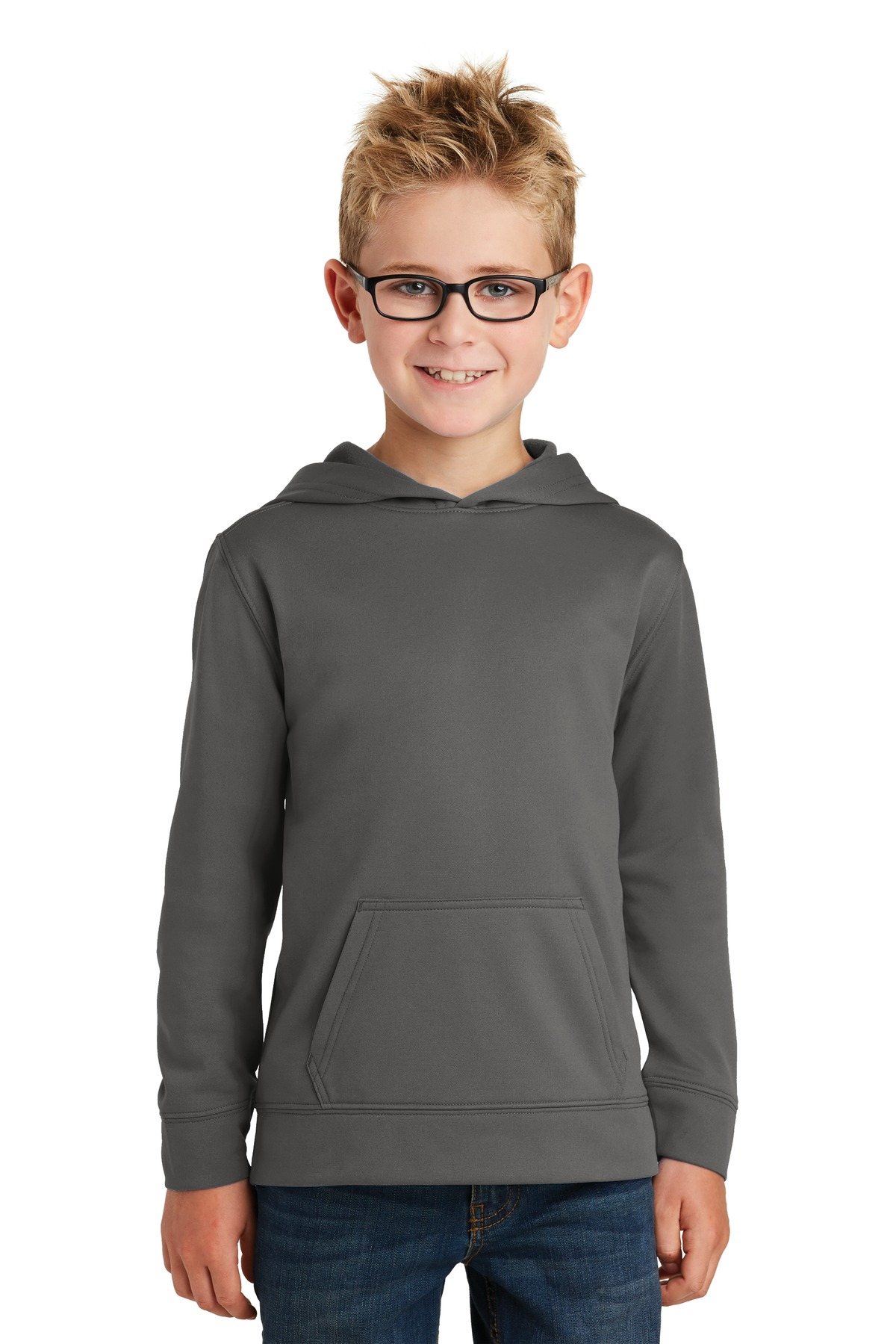 Port & Company ® Youth Performance Fleece Pullover Hooded Sweatshirt. PC590YH - Charcoal