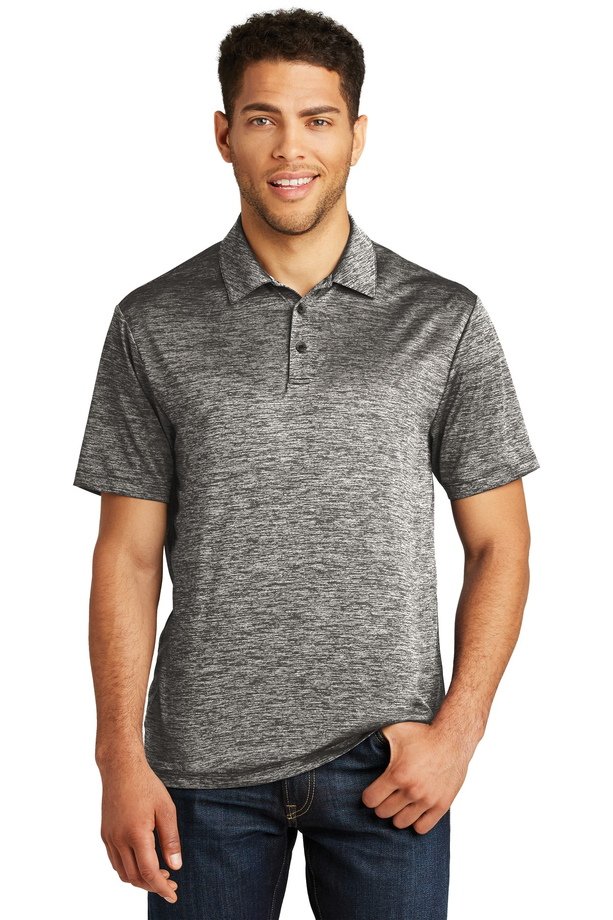 Sport-Tek  ®  PosiCharge  ®  Electric Heather Polo. ST590 - Black Electric