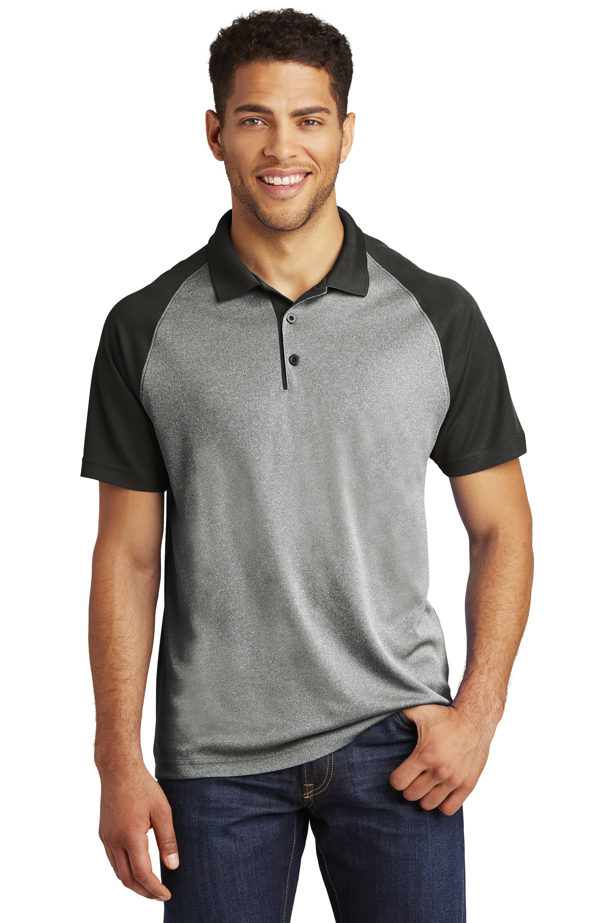 Sport-Tek  ®  PosiCharge  ®  RacerMesh  ®  Raglan Heather Block Polo. ST641 - Grey Heather/Black