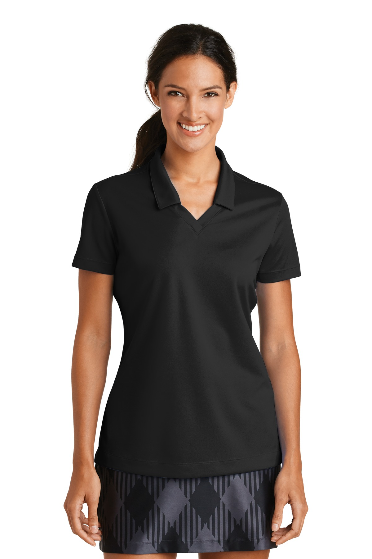 Nike Ladies Dri-FIT Micro Pique Polo. 354067 - Black