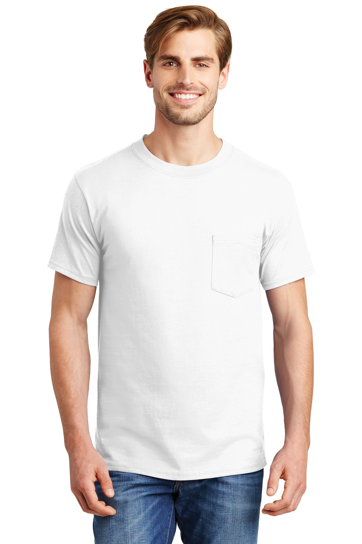 Hanes ®  Beefy-T ®  - 100% Cotton T-Shirt with Pocket. 5190 - White