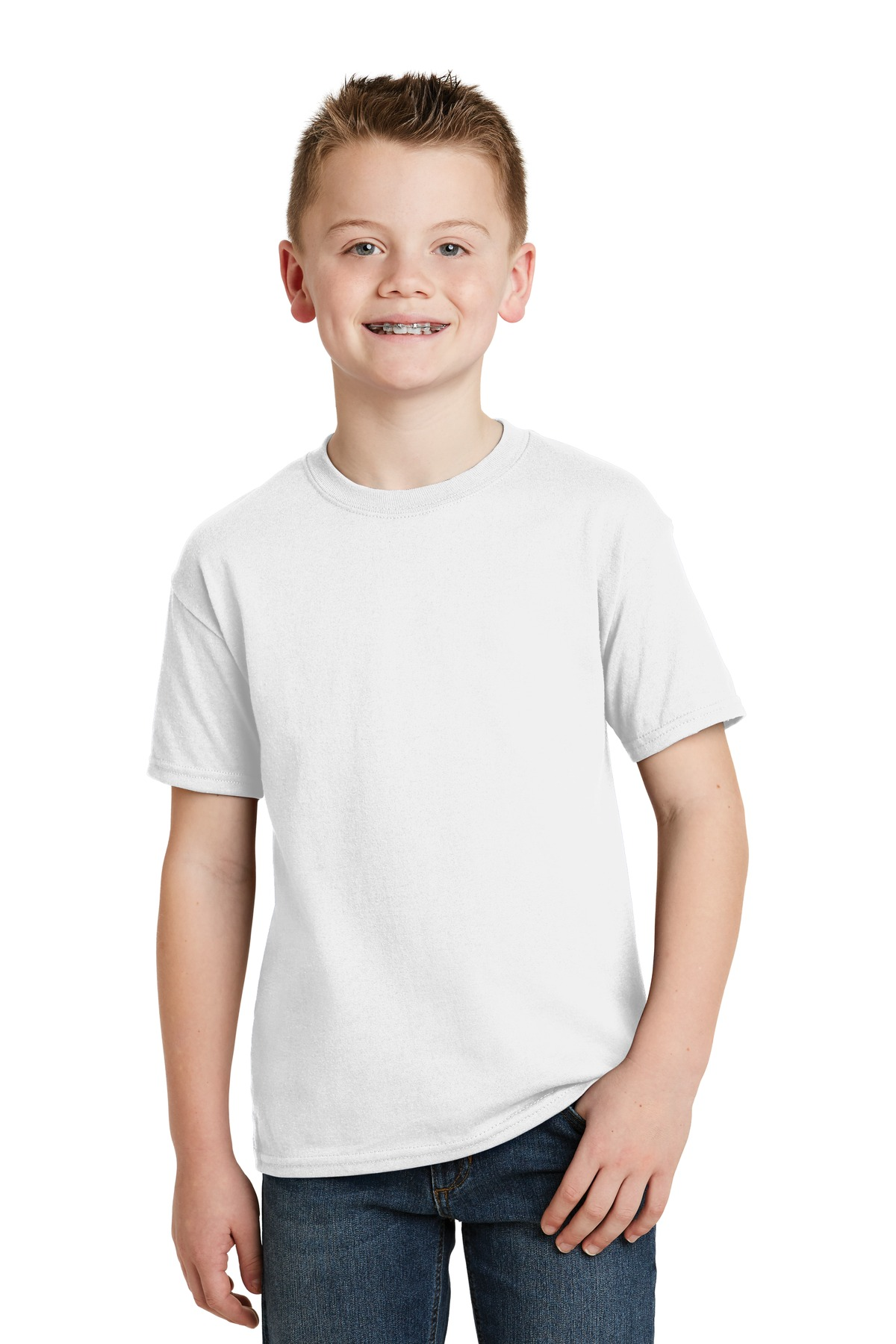 Hanes® - Youth EcoSmart ®  50/50 Cotton/Poly T-Shirt.  5370 - White