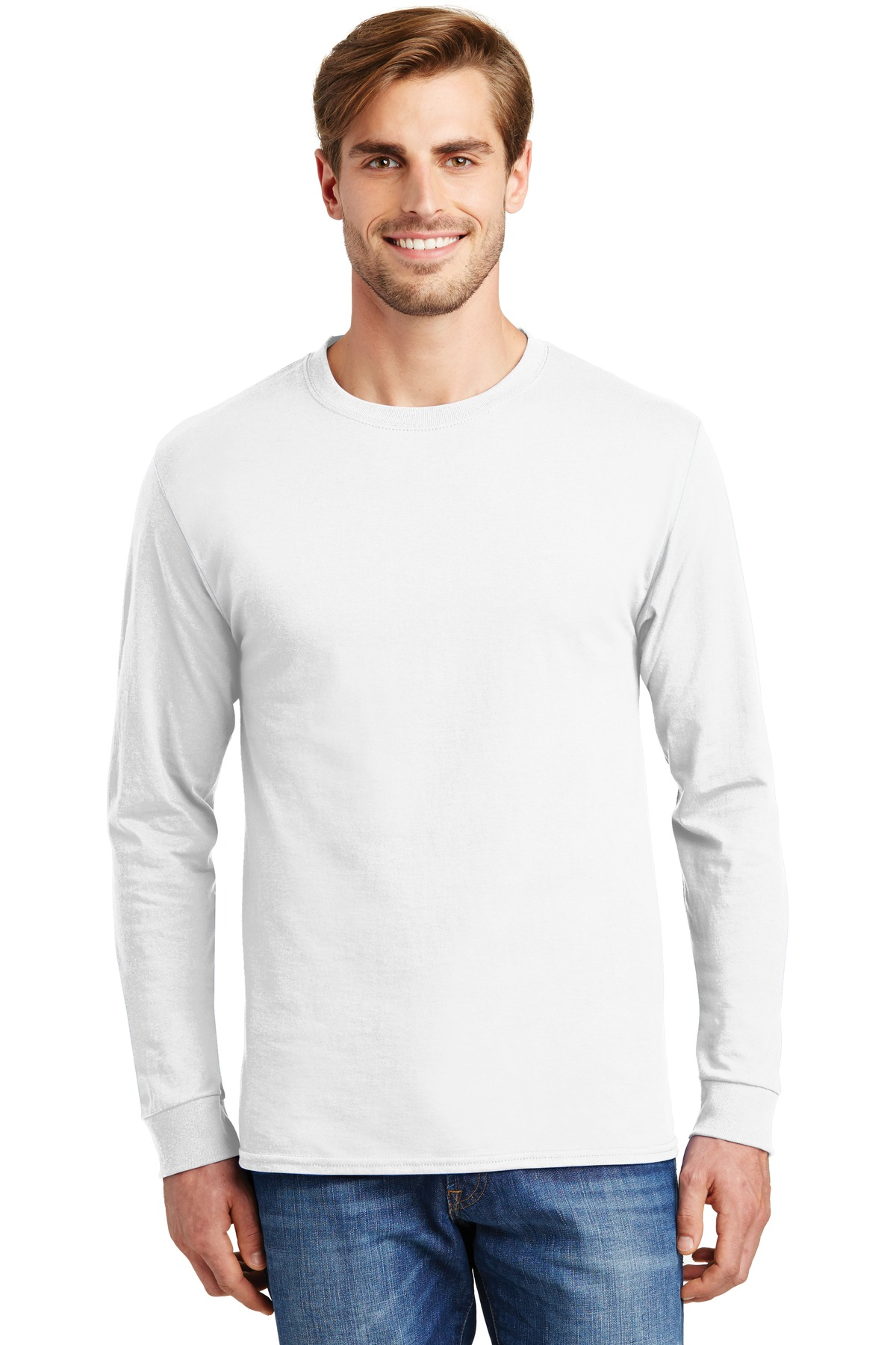 Hanes ®  - Tagless ®  100% Cotton Long Sleeve T-Shirt.  5586 - White
