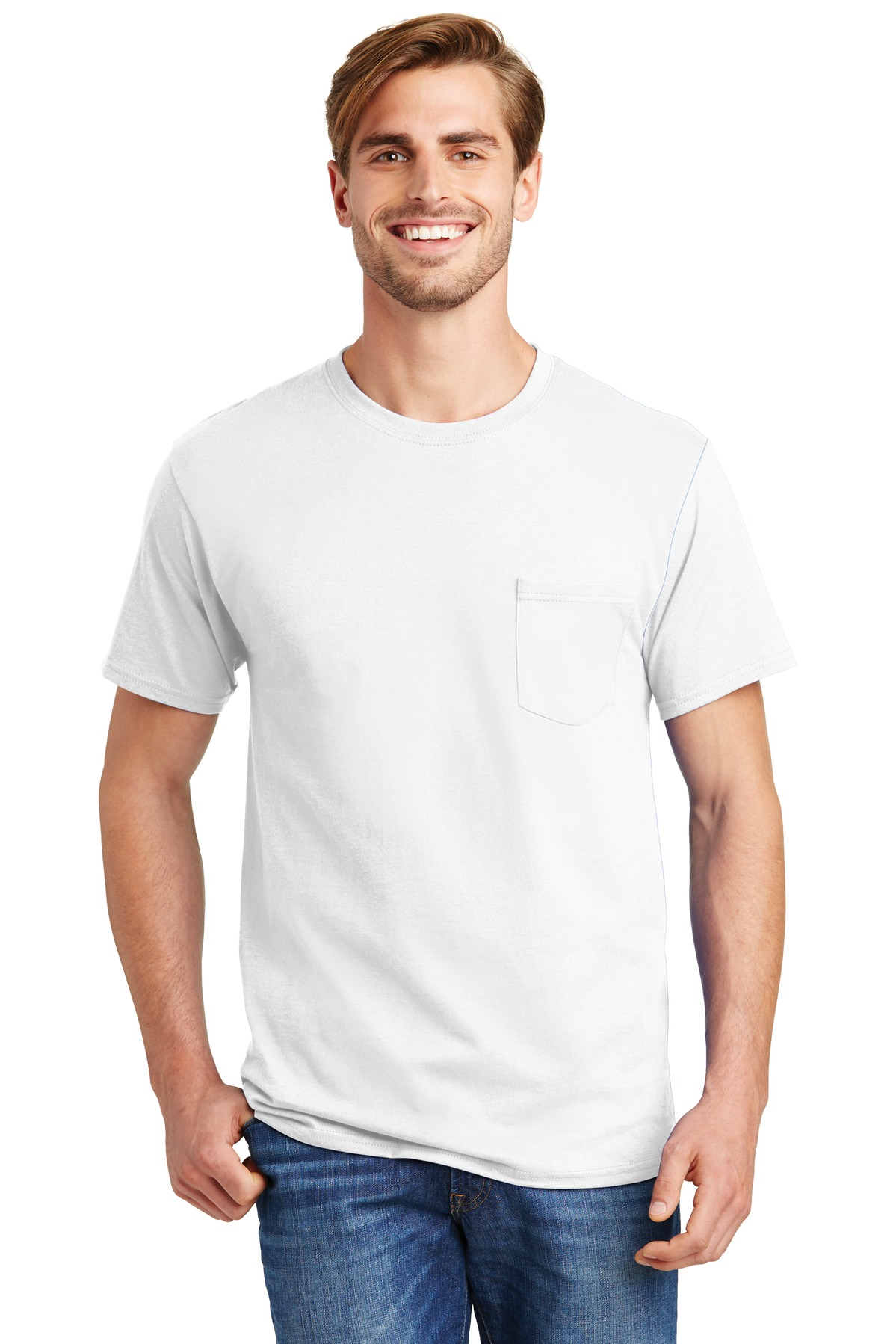 Hanes ®  - Tagless ®  100%  Cotton T-Shirt with Pocket.  5590 - White